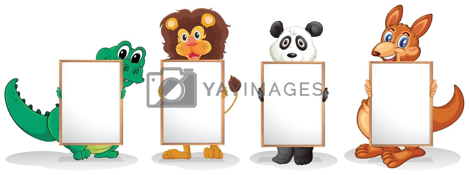 Illustration of the four wild animals with empty signboards on a white background