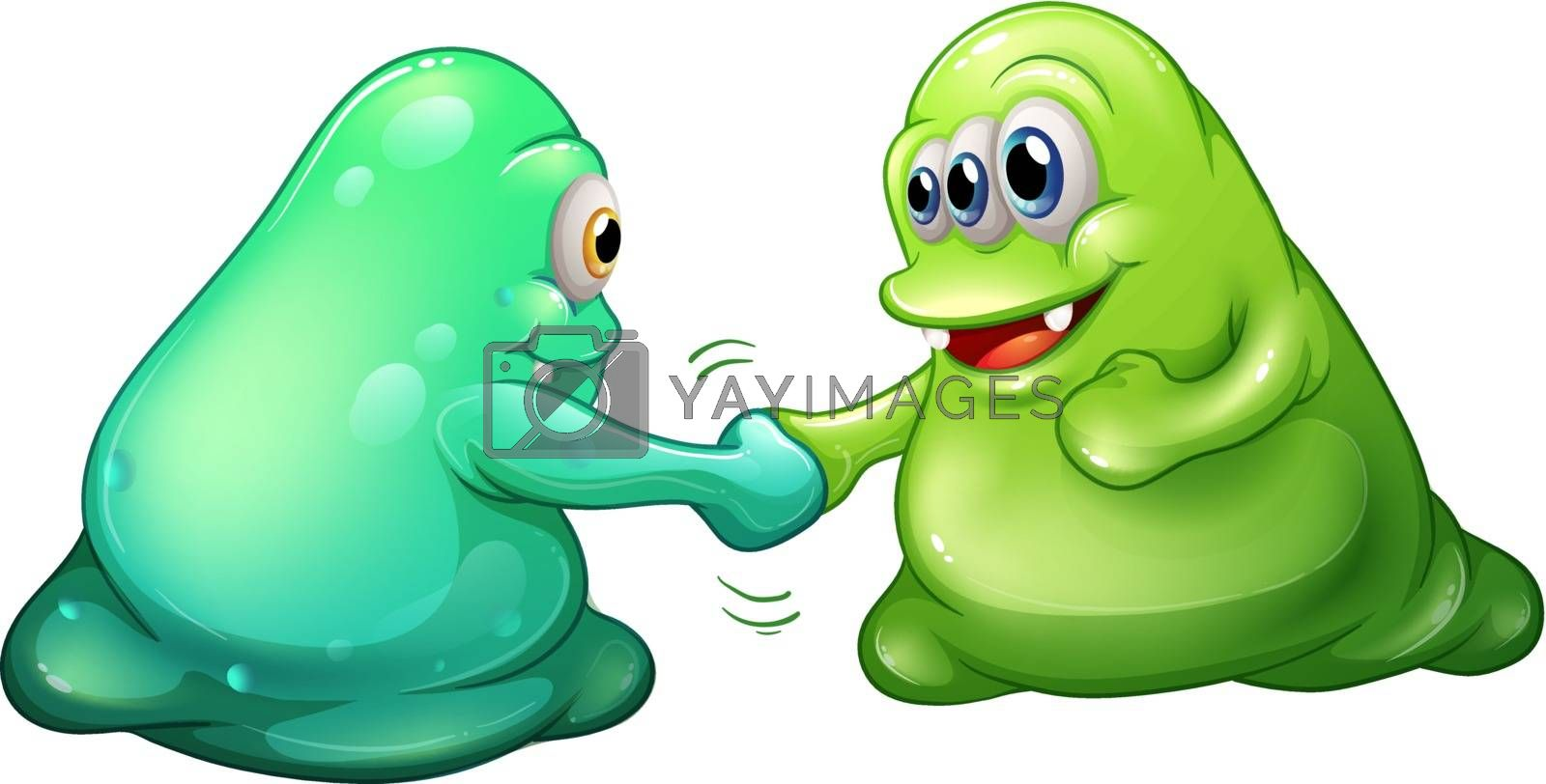 Illustration of a teamwork of monsters on a white background