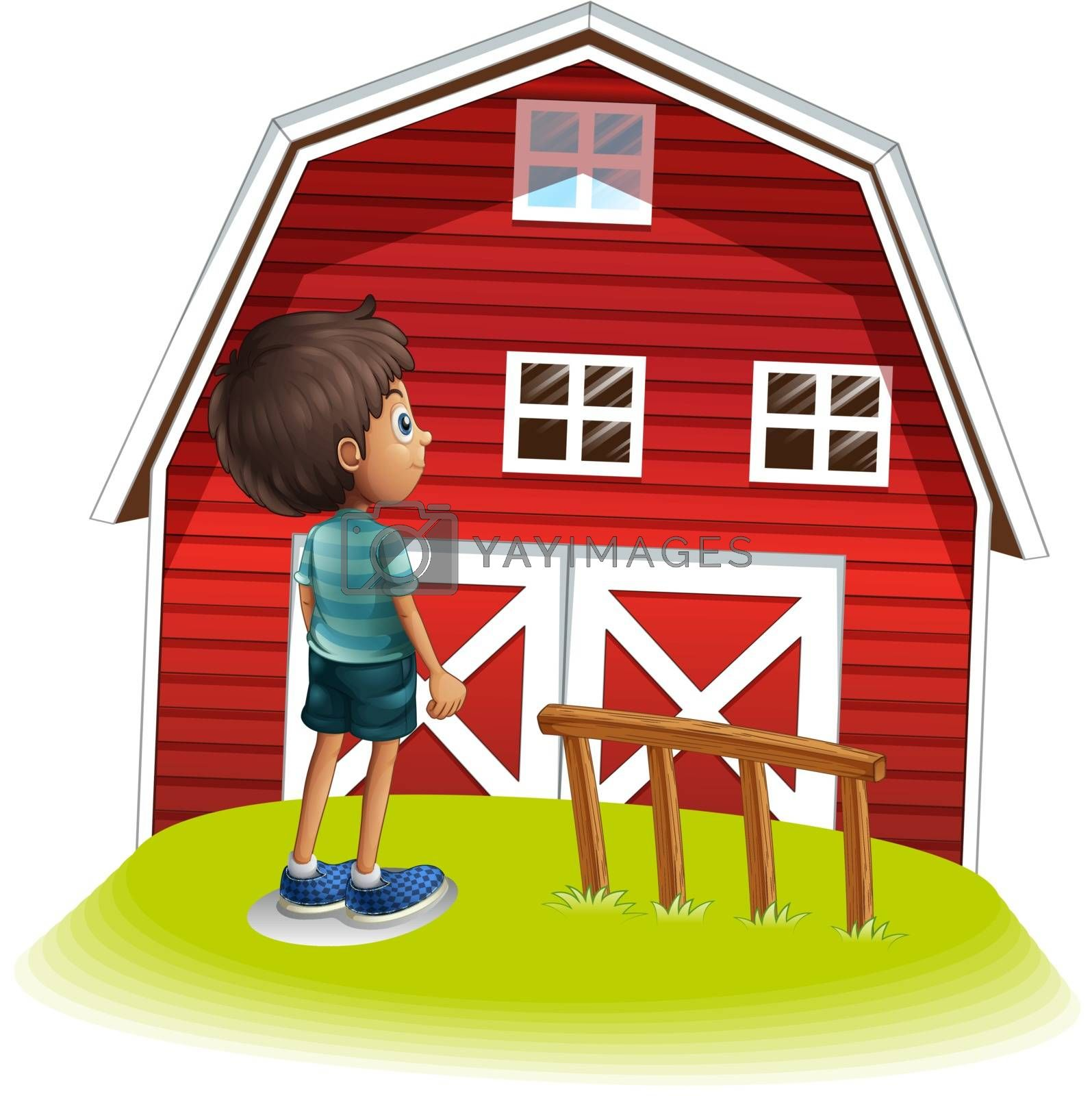 Illustration of a boy standing in front of the red farmhouse on a white background