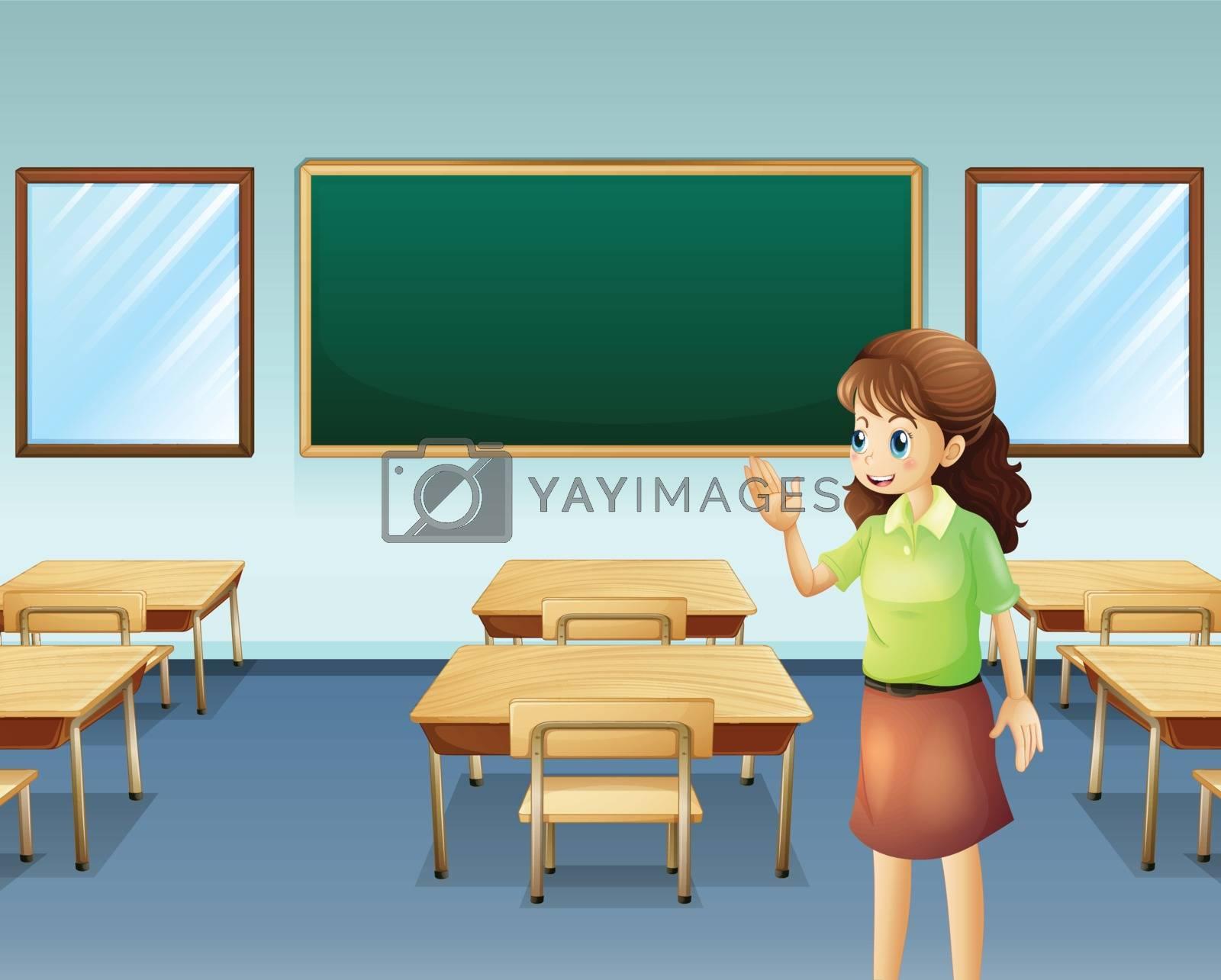 Illustration of a teacher inside the empty classroom