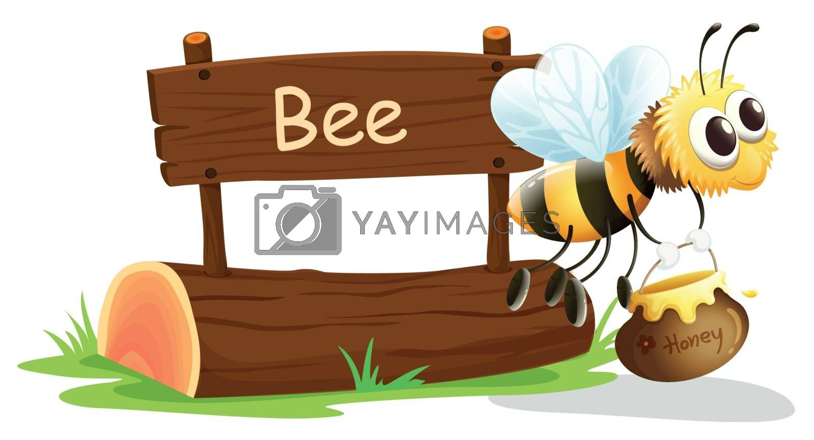 Illustration of a notice board and a honey bee on a white background