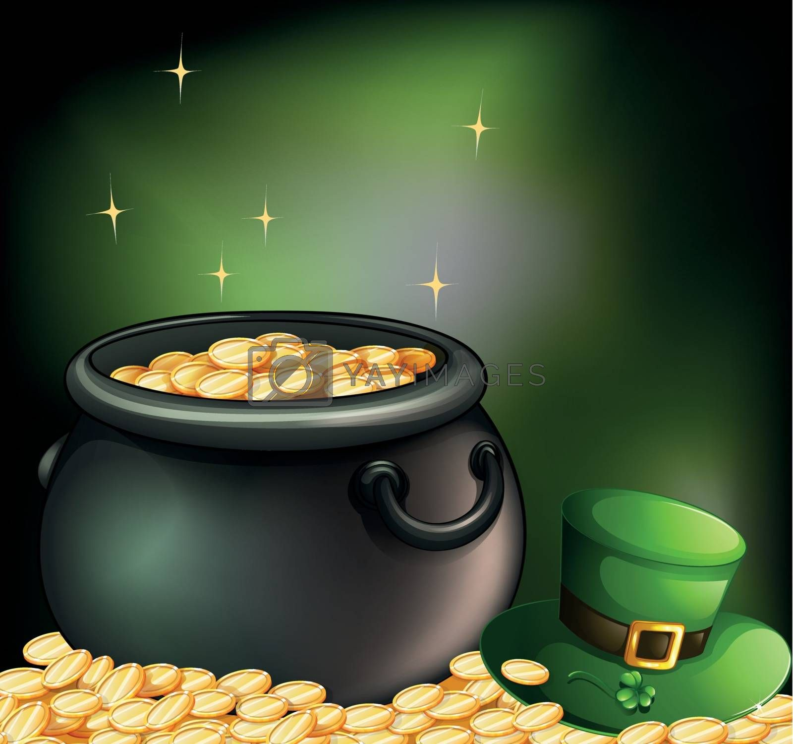 Illustration of the gold coins inside a pot and a green hat