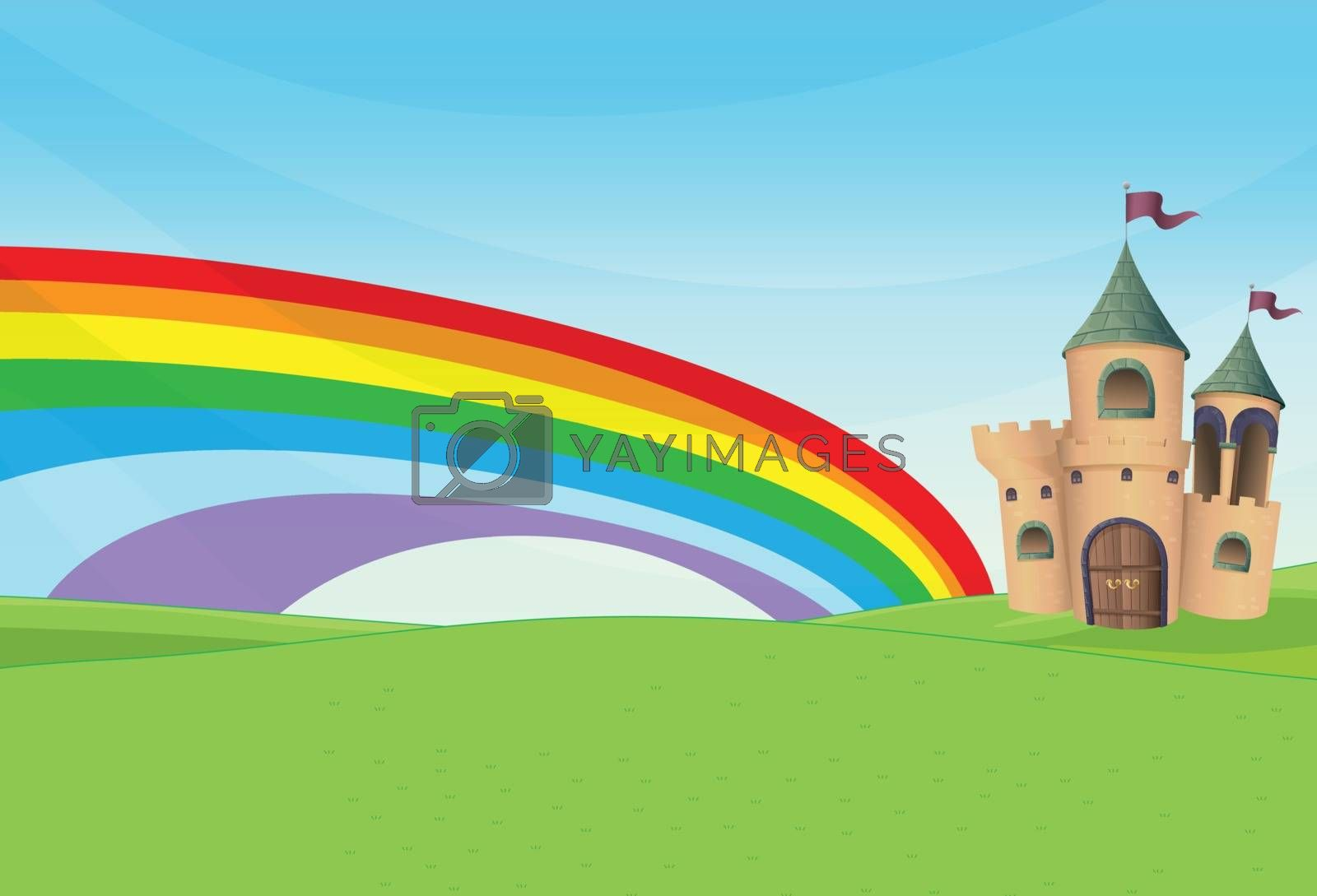 Illustration of a castle and the rainbow