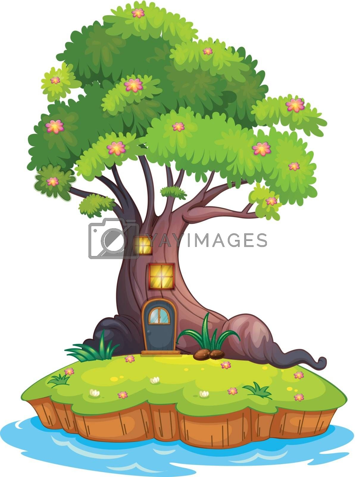Illustration of a giant tree in an island on a white background