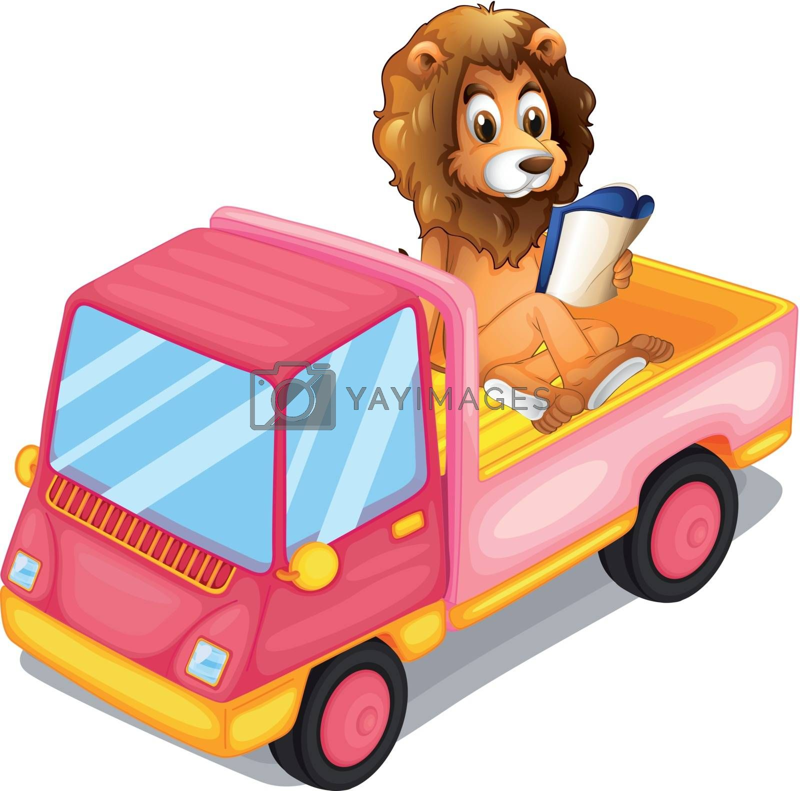 Illustration of a lion reading a book at the back of a truck on a white background