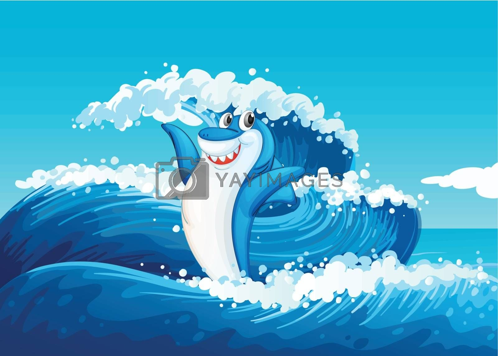 Illustration of a blue shark and the sea waves