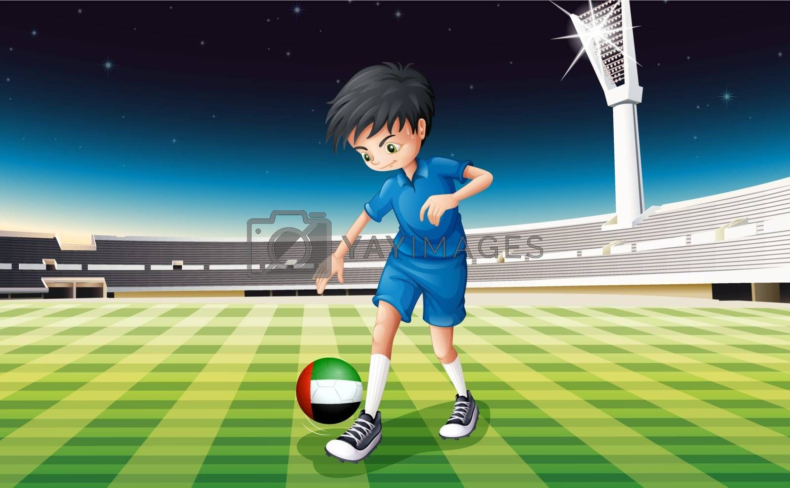 Illustration of a boy kicking the ball with the United Arab Emirates flag