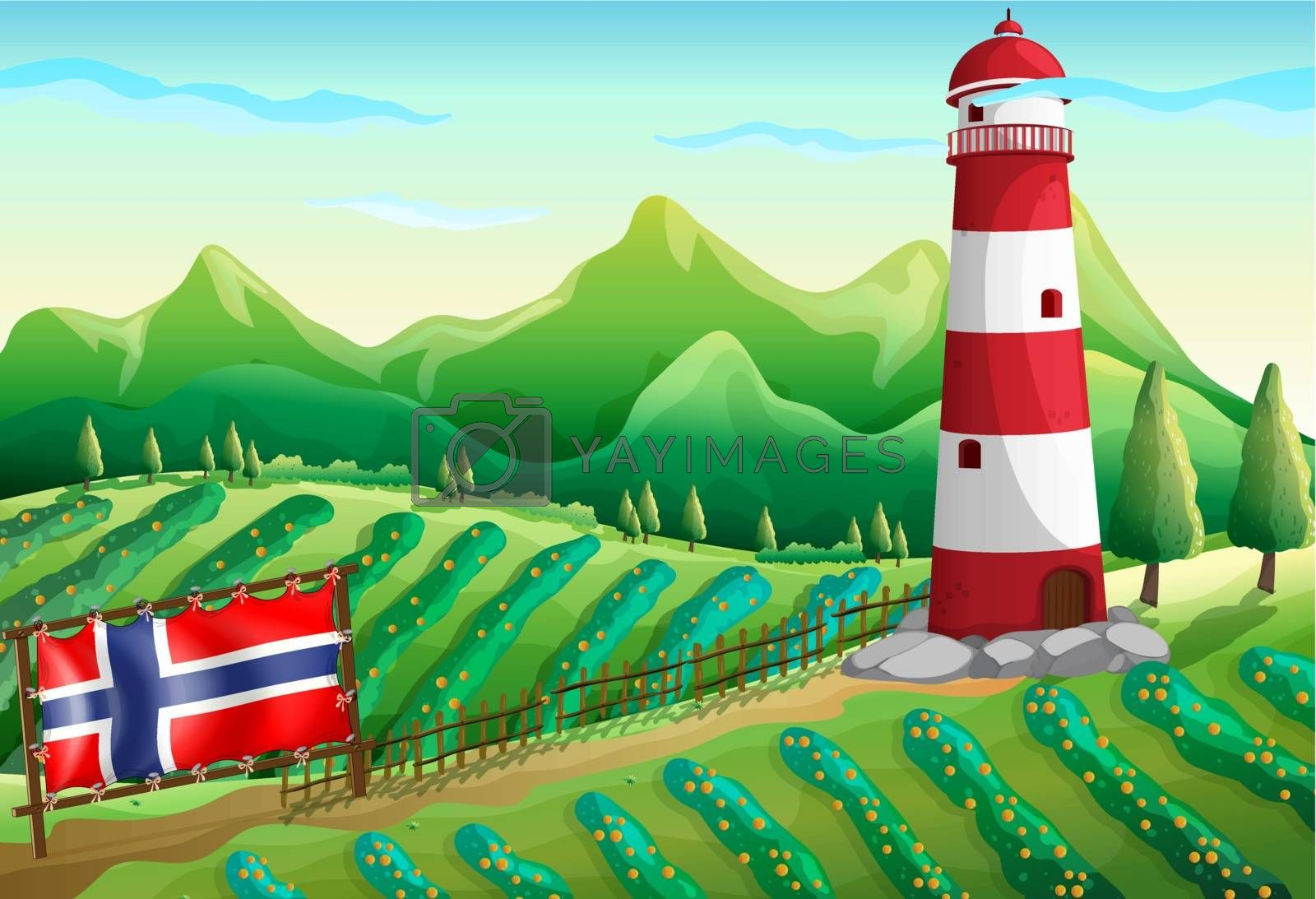 Illustration of the flag of Norway at the farm