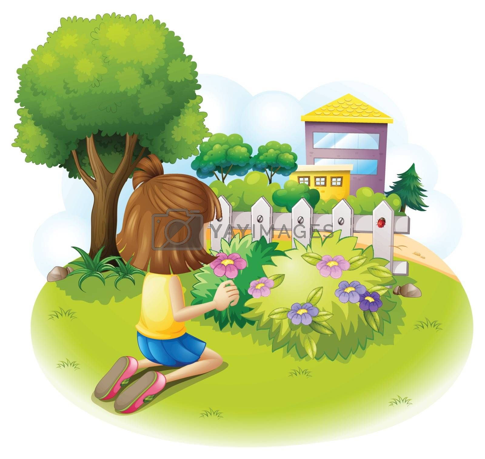 Illustration of a girl at the garden on a white background
