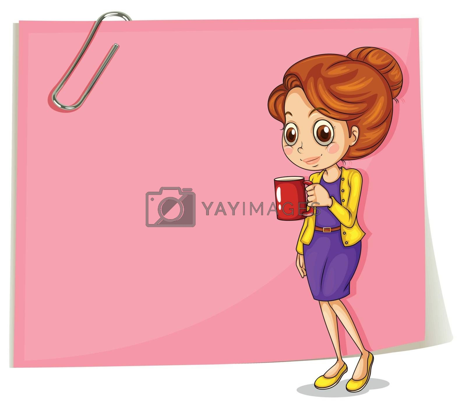 Illustration of a girl drinking her coffee in front of the empty pink template on a white background