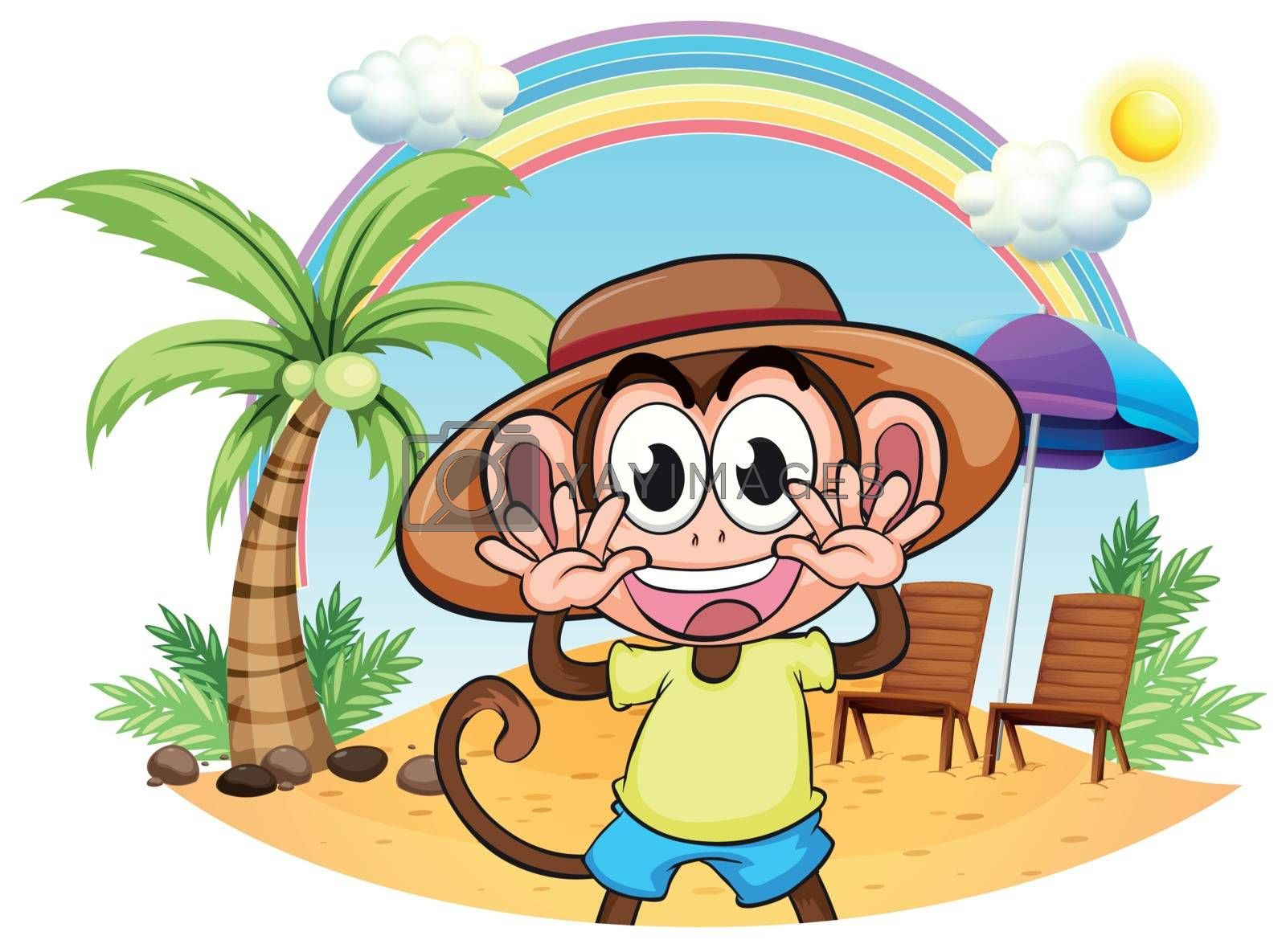Illustration of a monkey at the beach on a white background