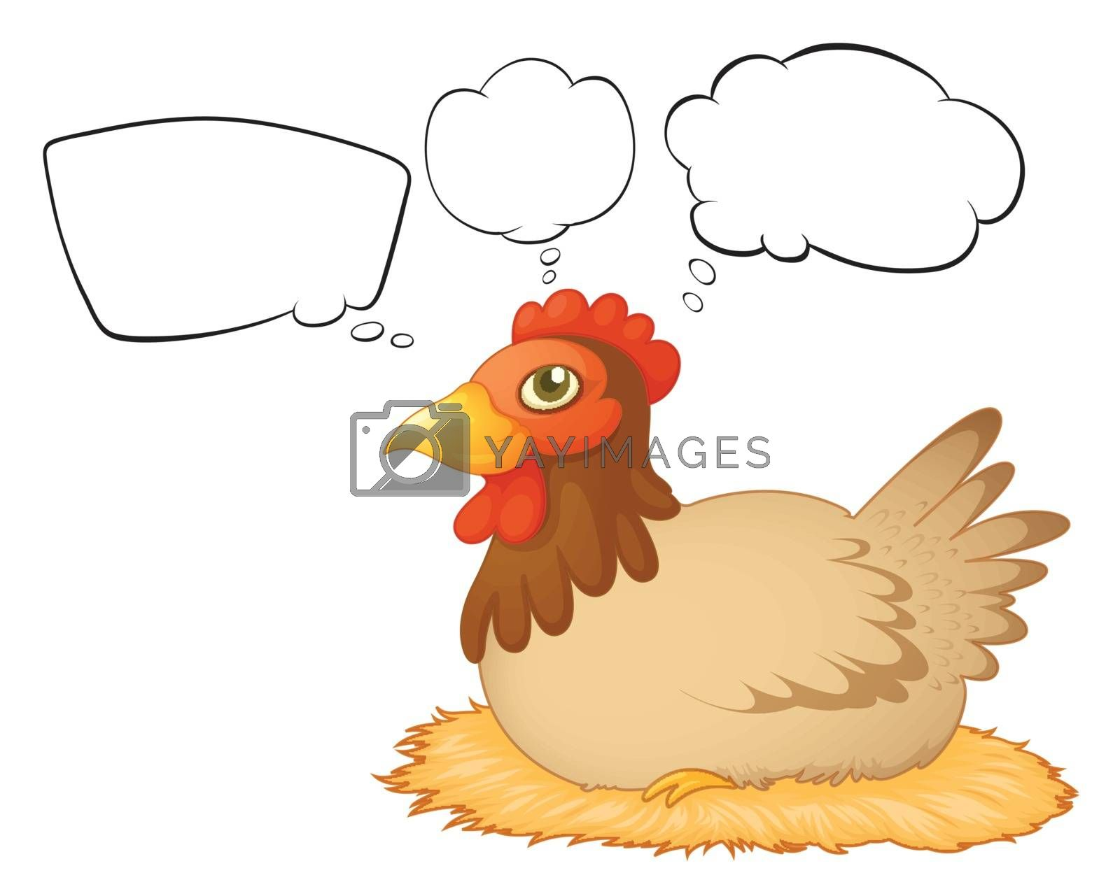 Illustration of a hen laying eggs with empty callouts on a white background