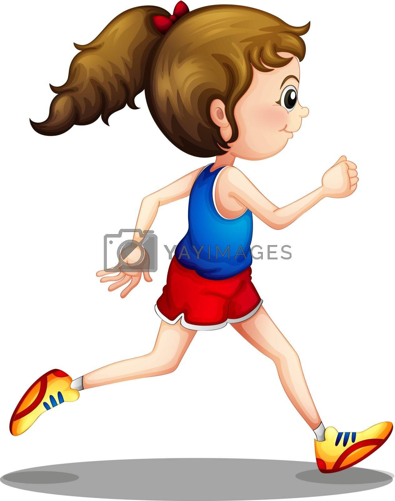 Illustration of a young girl running on a white background
