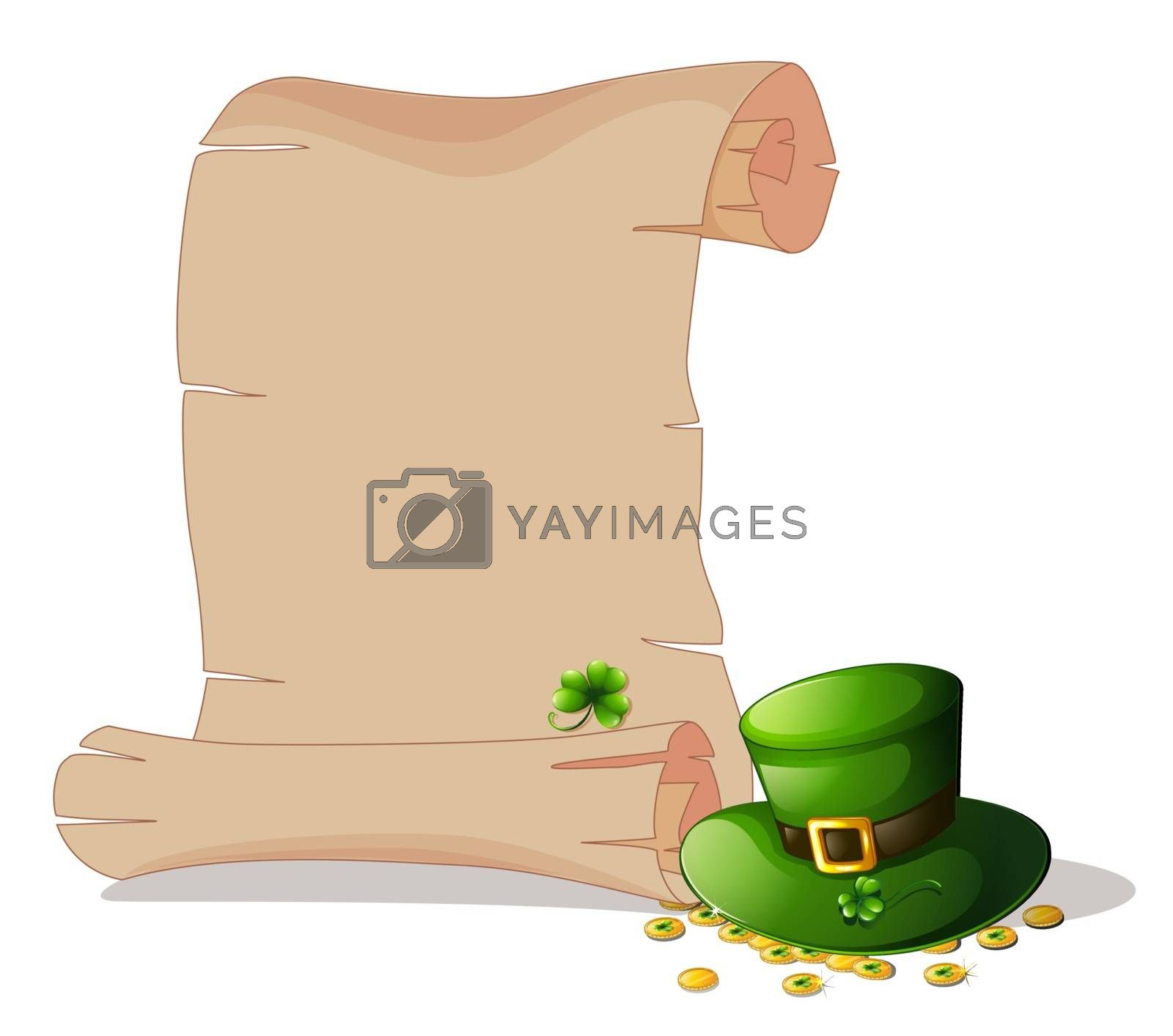Illustration of an empty space beside a green hat and tokens on a white background
