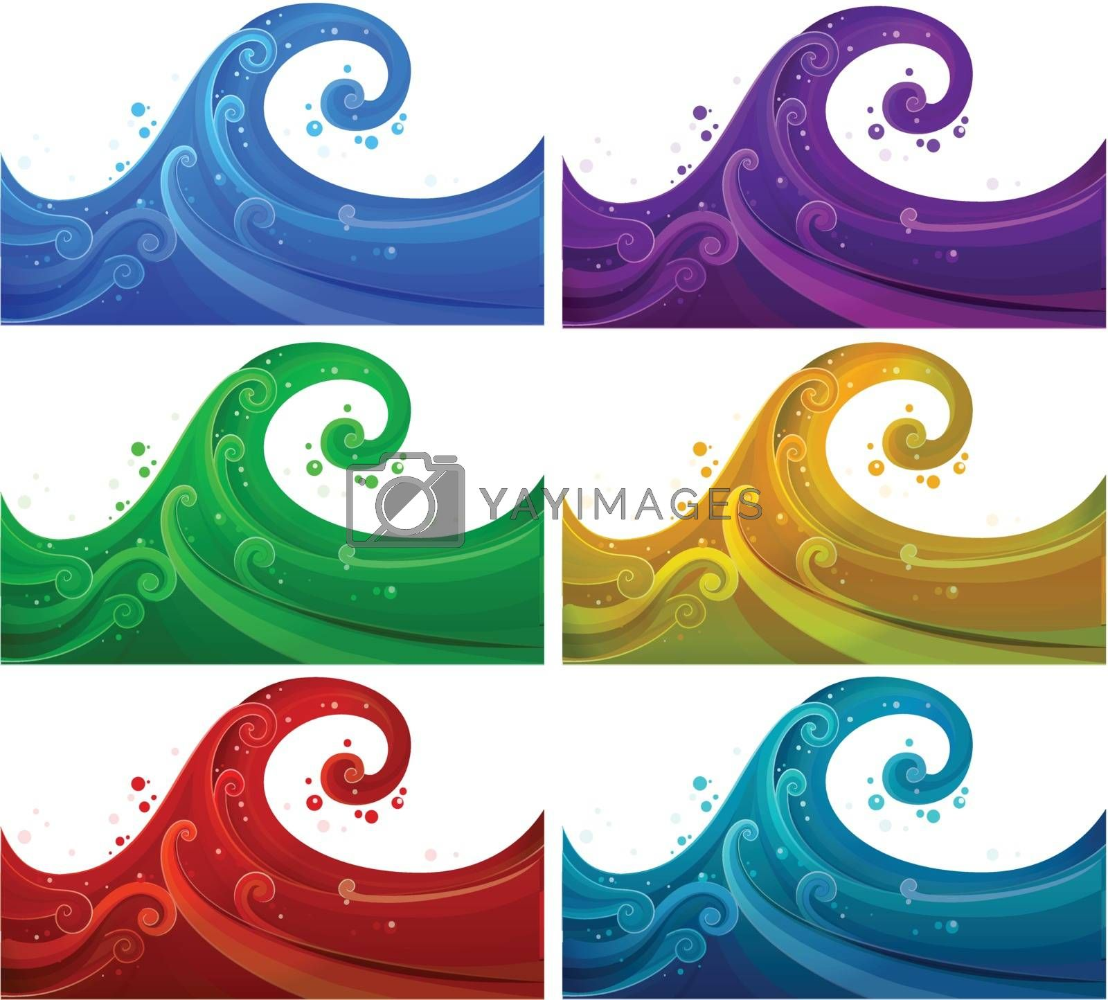 Illustration of the six colorful waves on a white background