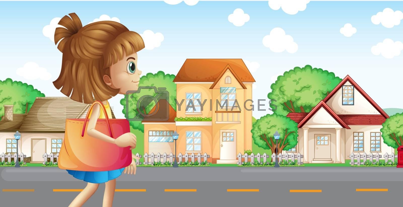 Illustration of a girl walking across the neighborhood