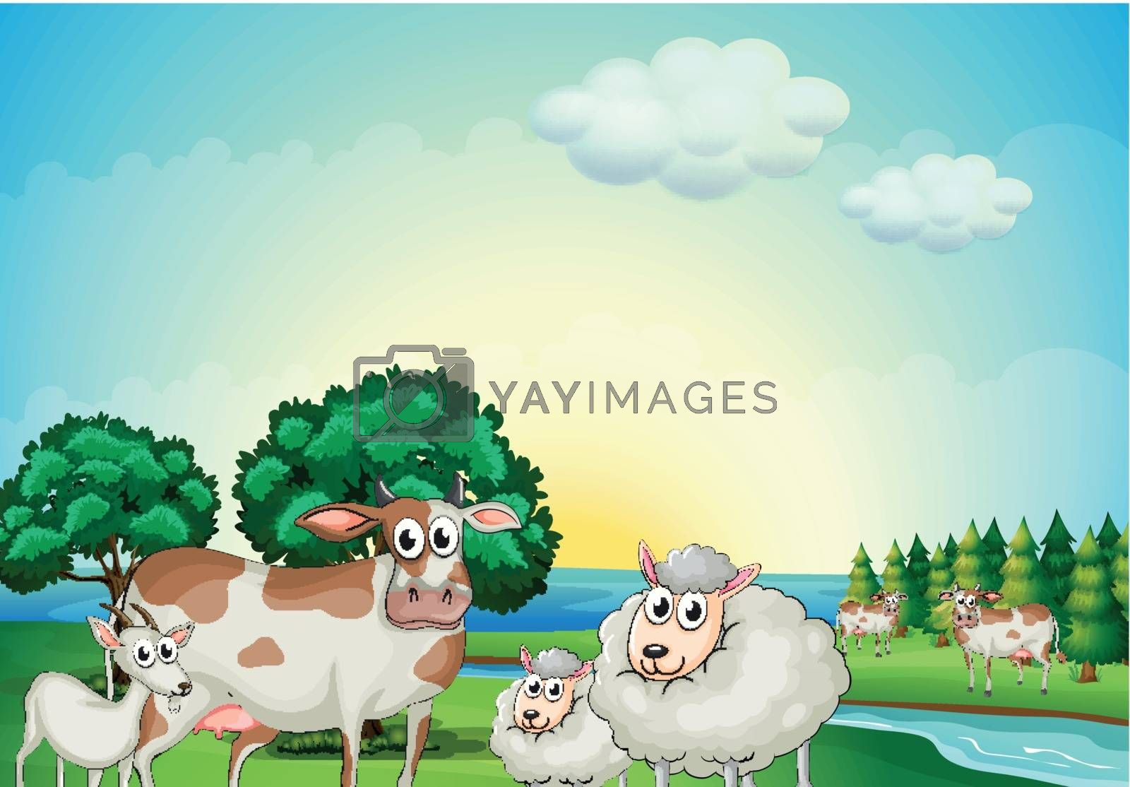 Illustration of the sheeps, cow and goat near the flowing river