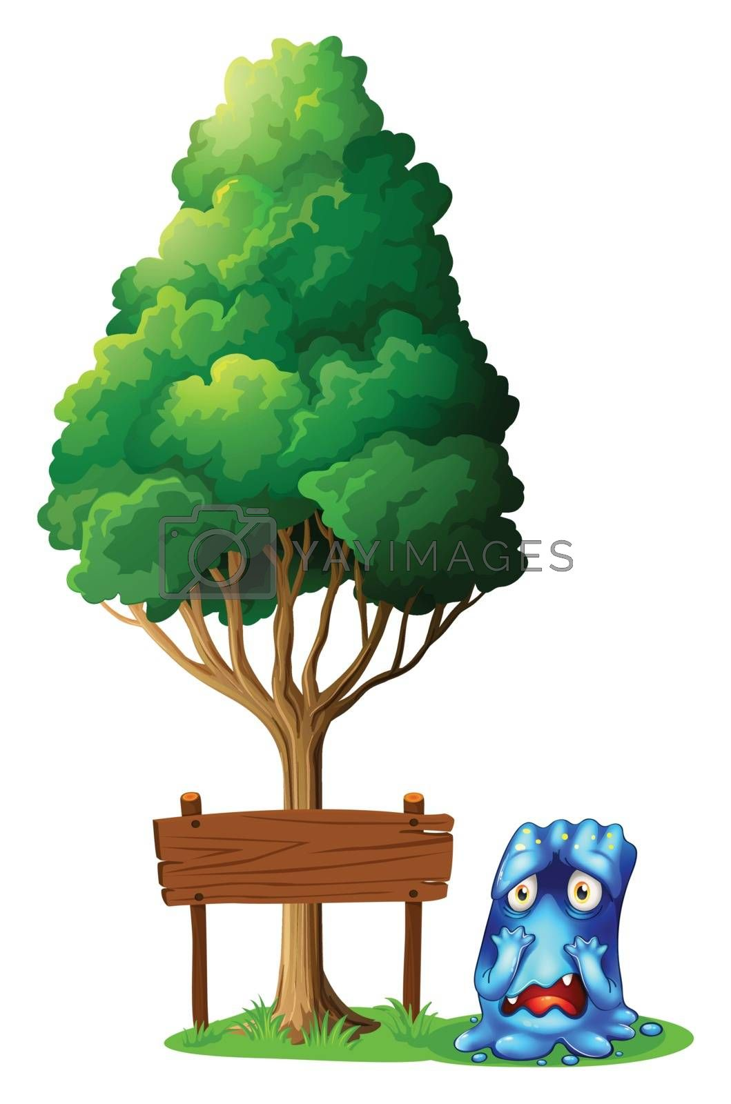 Illustration of an empty signboard under the tree beside the worried monster on a white background