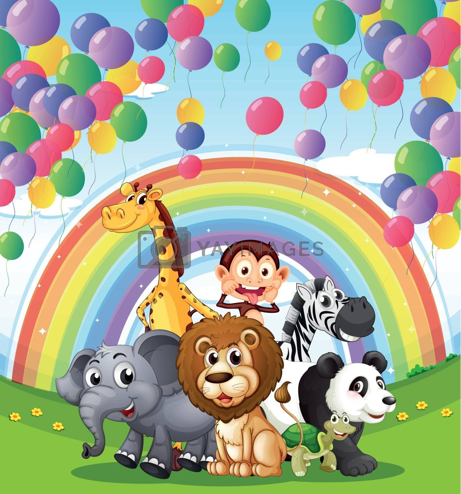 Illustration of the animals below the  floating balloons and rainbow