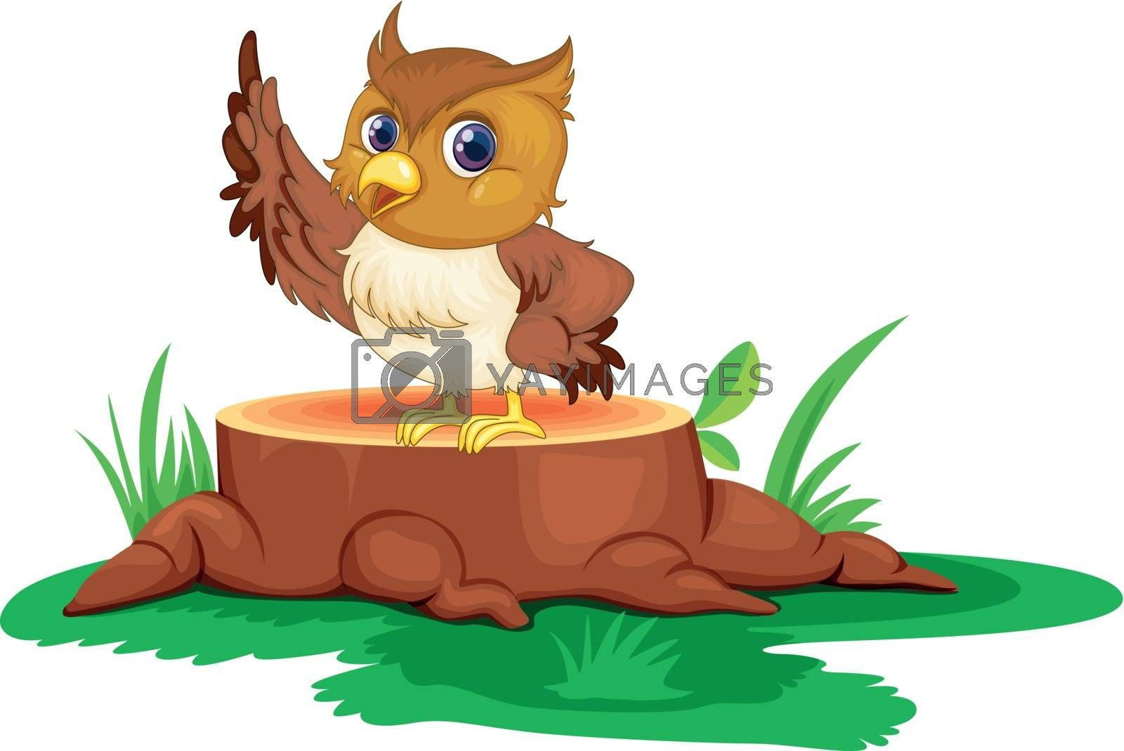 Illustration of an owl on a stump on a white background