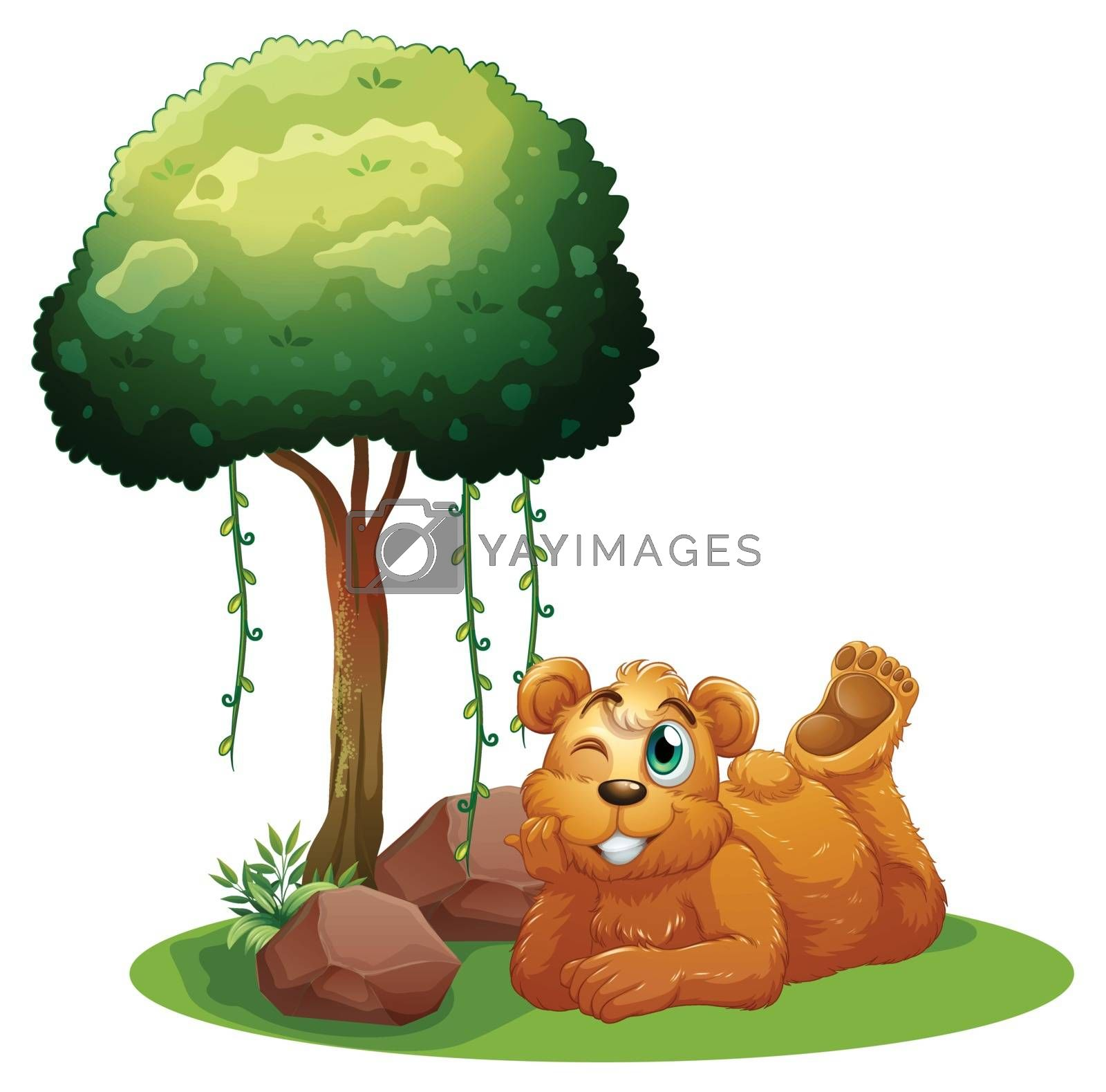 Illustration of a smiling brown bear lying near the tree on a white background
