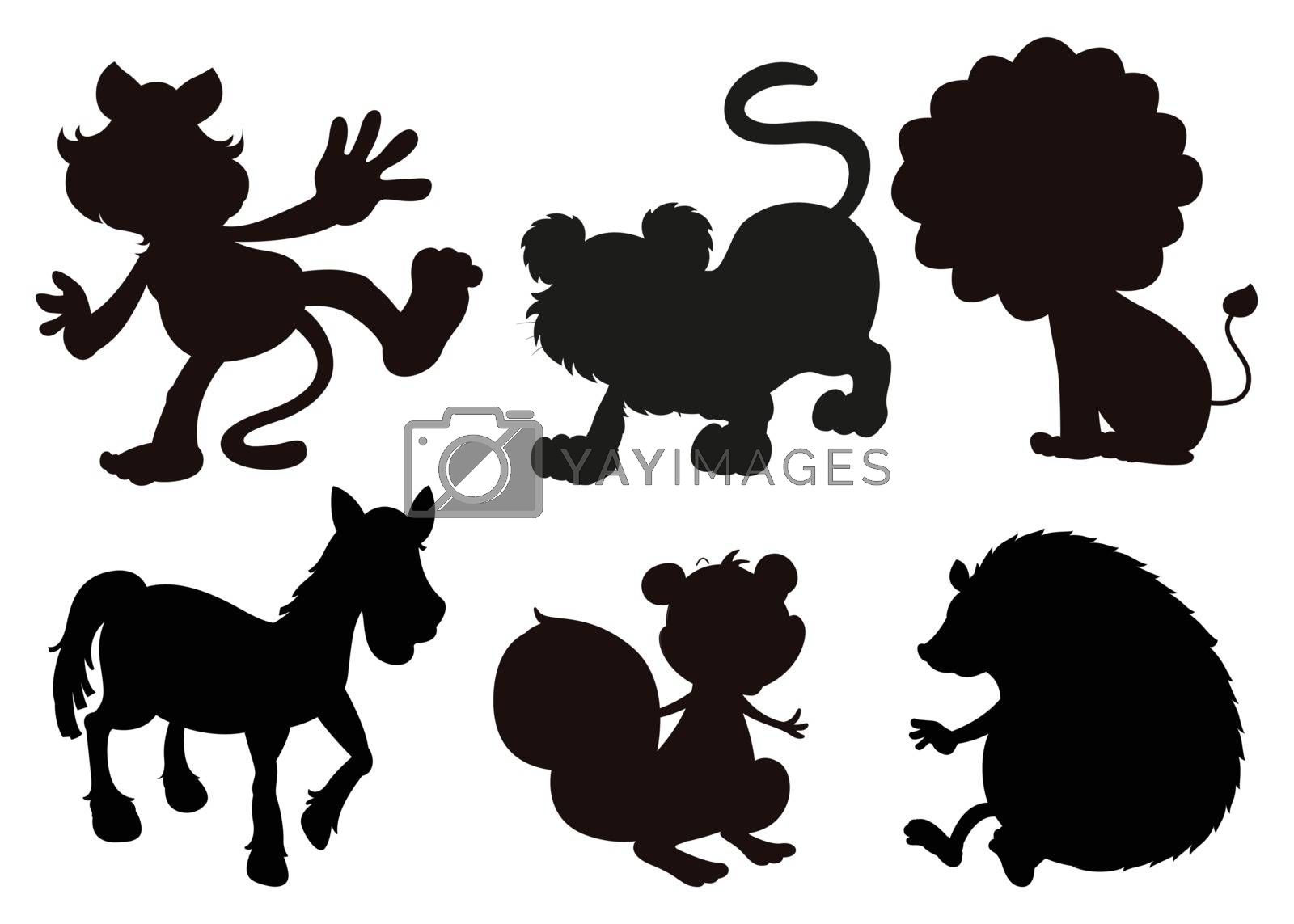 Illustration of the animals in black colored images on a white background
