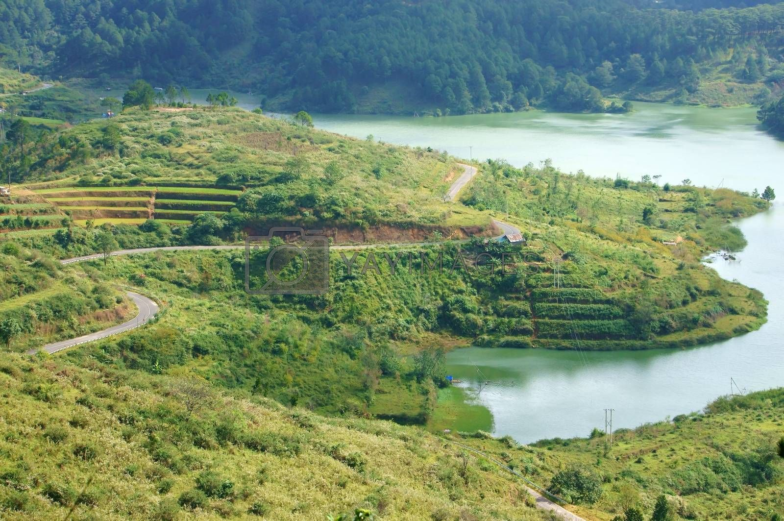 Overview of Tuyen Lam lake from mountain with pine forest, the road thourgh meadow and along the lake ,amazing landscape with mountain, lake and road