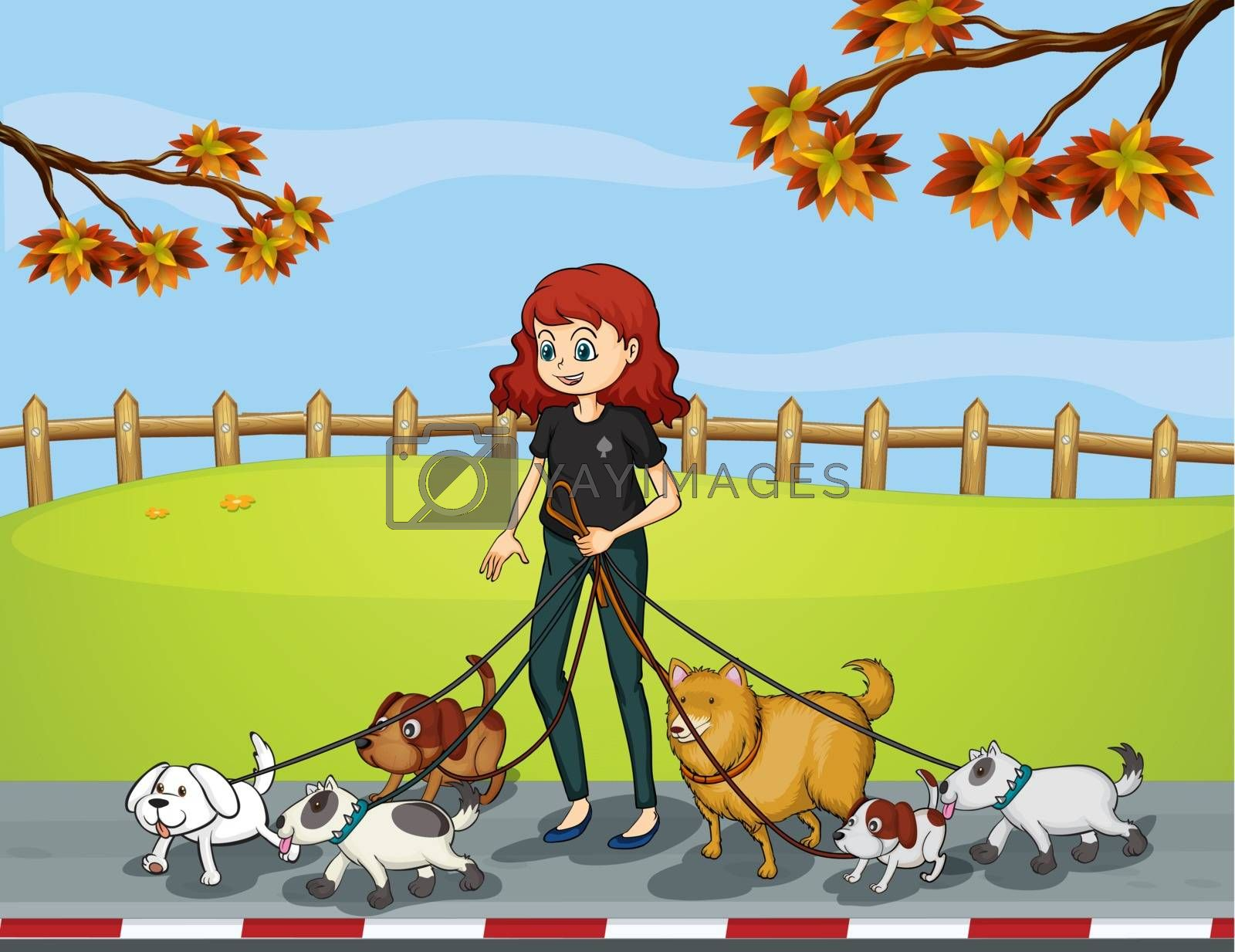A lady at the park strolling with her pets by iimages