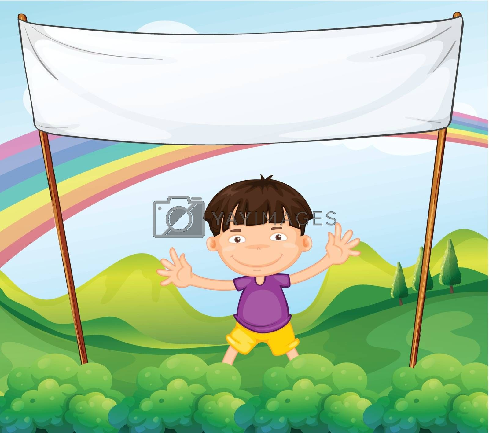 Illustration of an empty banner above a little boy