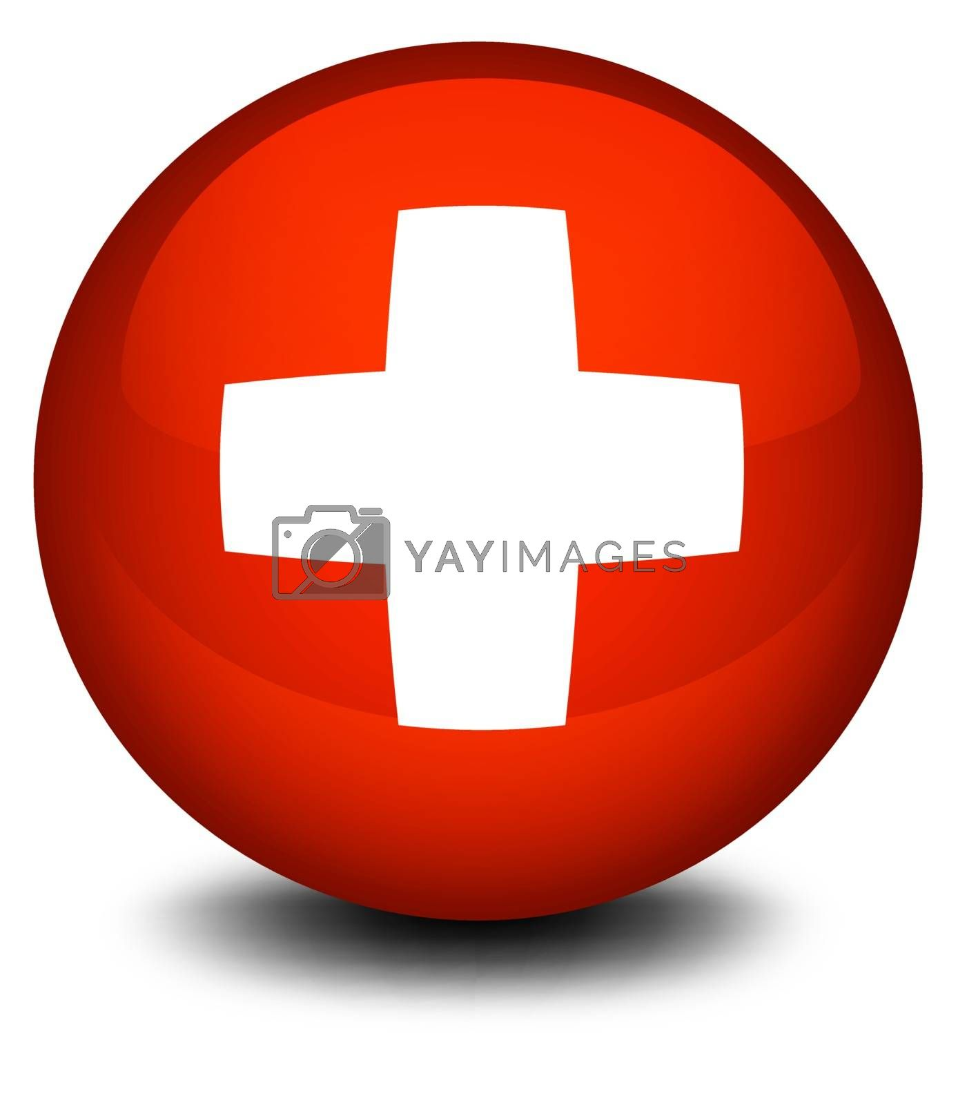 Illustration of the flag of Switzerland in a ball on a white background