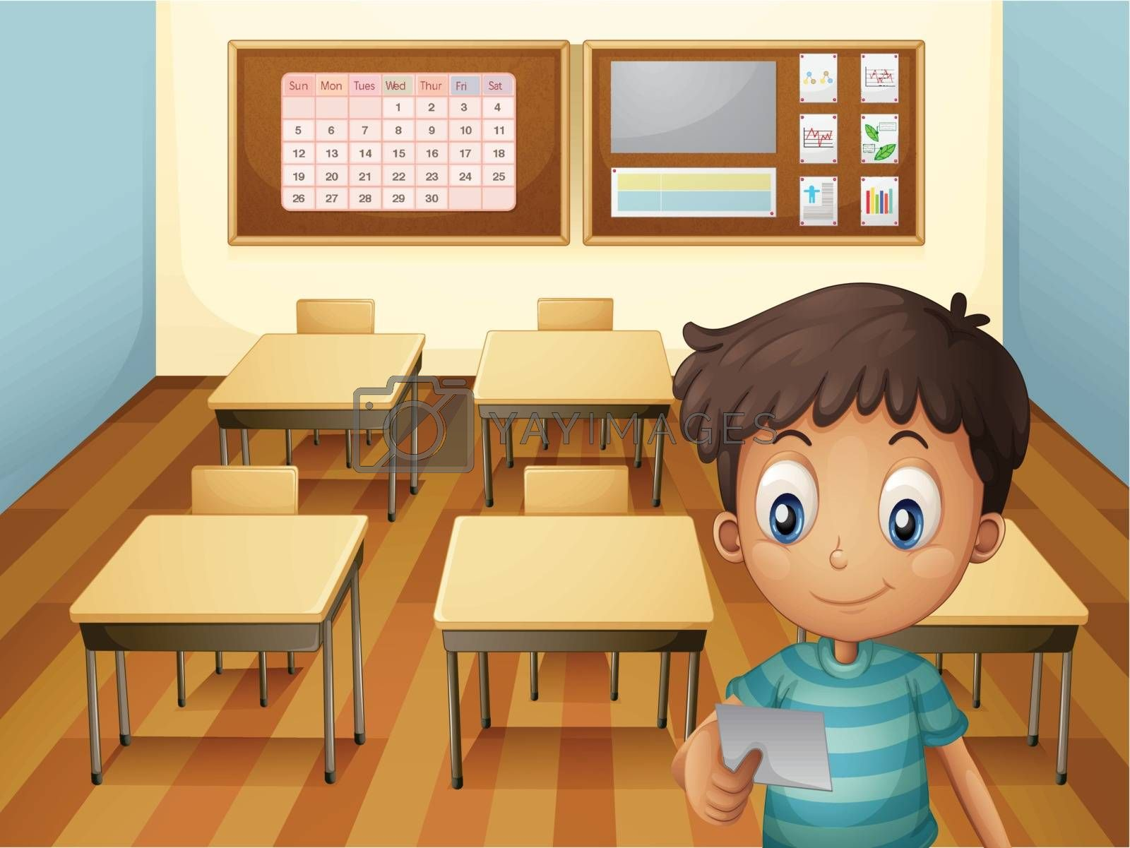 Illustration of a young boy inside the classroom