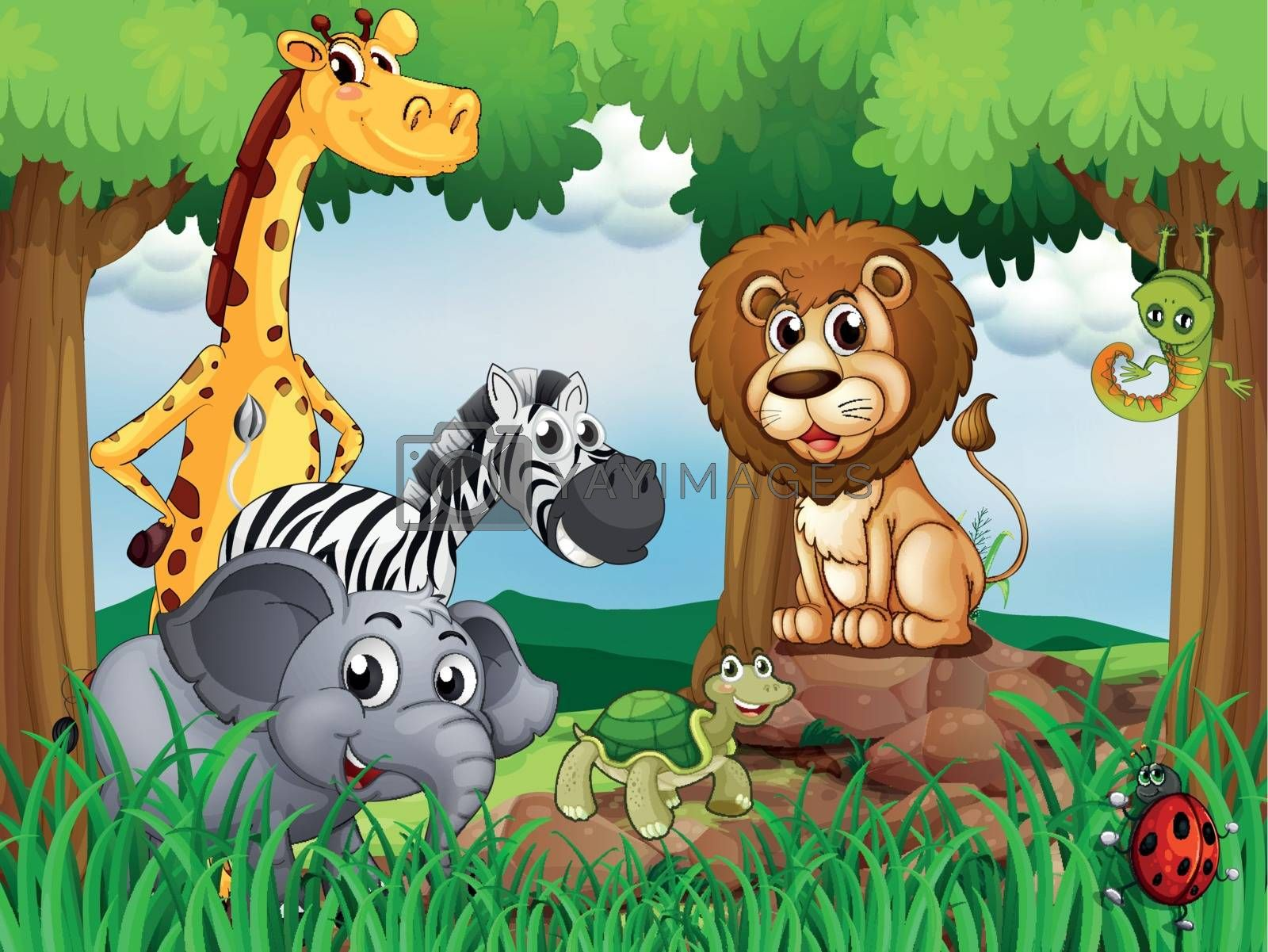 Illustration of a group of animals in the middle of the forest