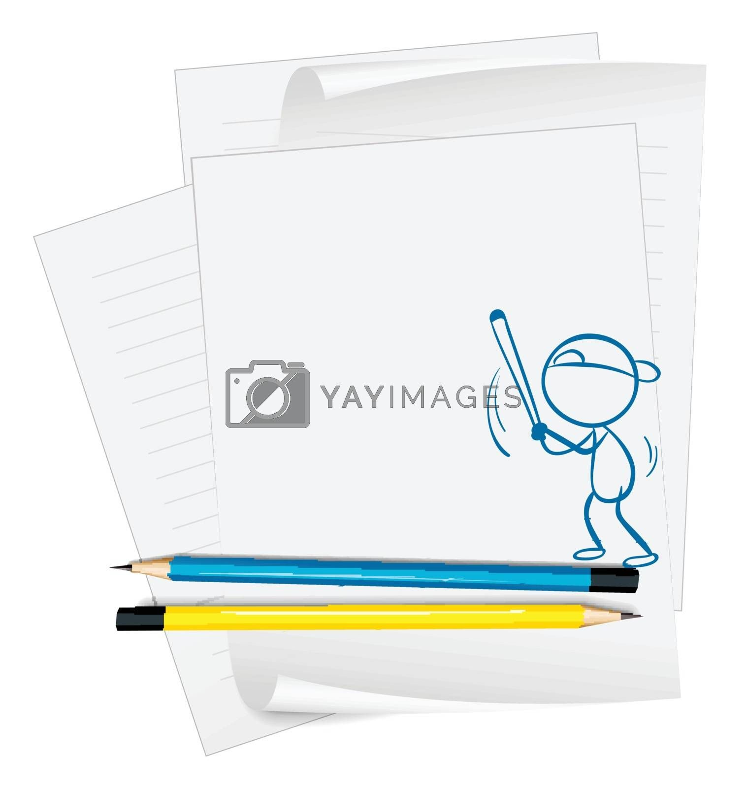 Illustration of a paper with a sketch of a boy playing baseball on a white background