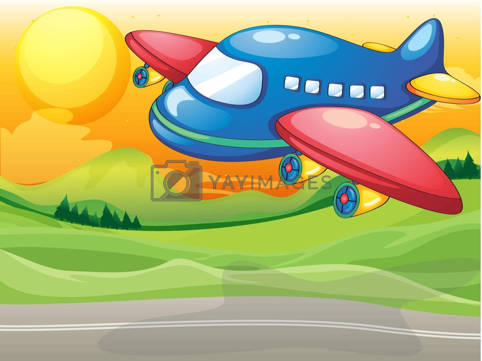 Illustration of a blue airplane above the road