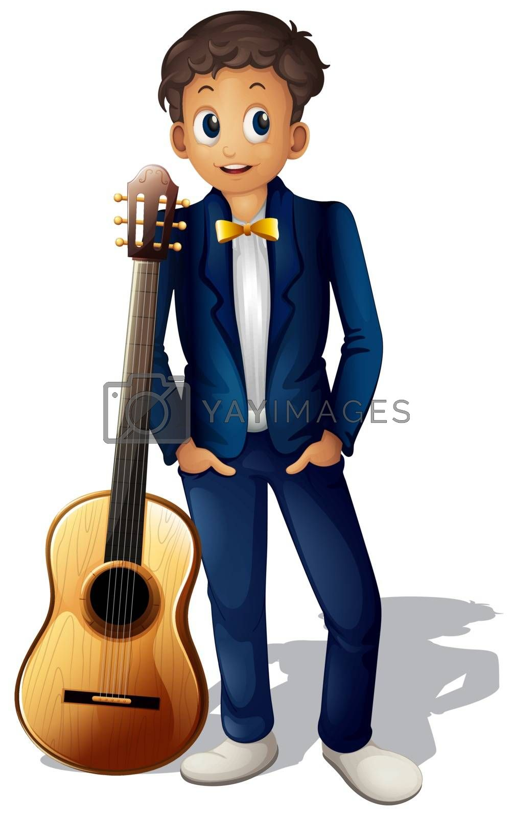 Illustration of a boy standing beside the guitar on a white background