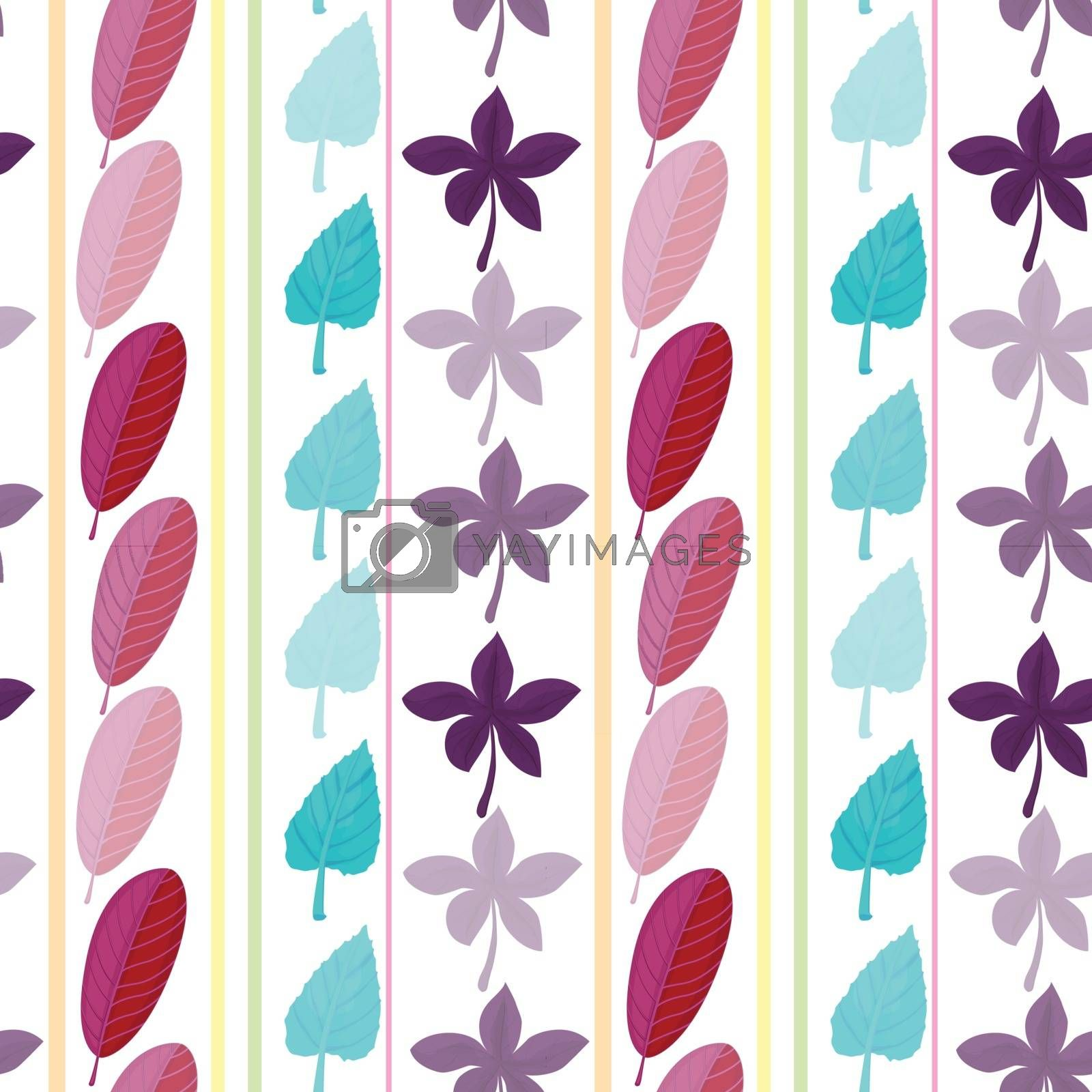 Illustration of a template with leaves
