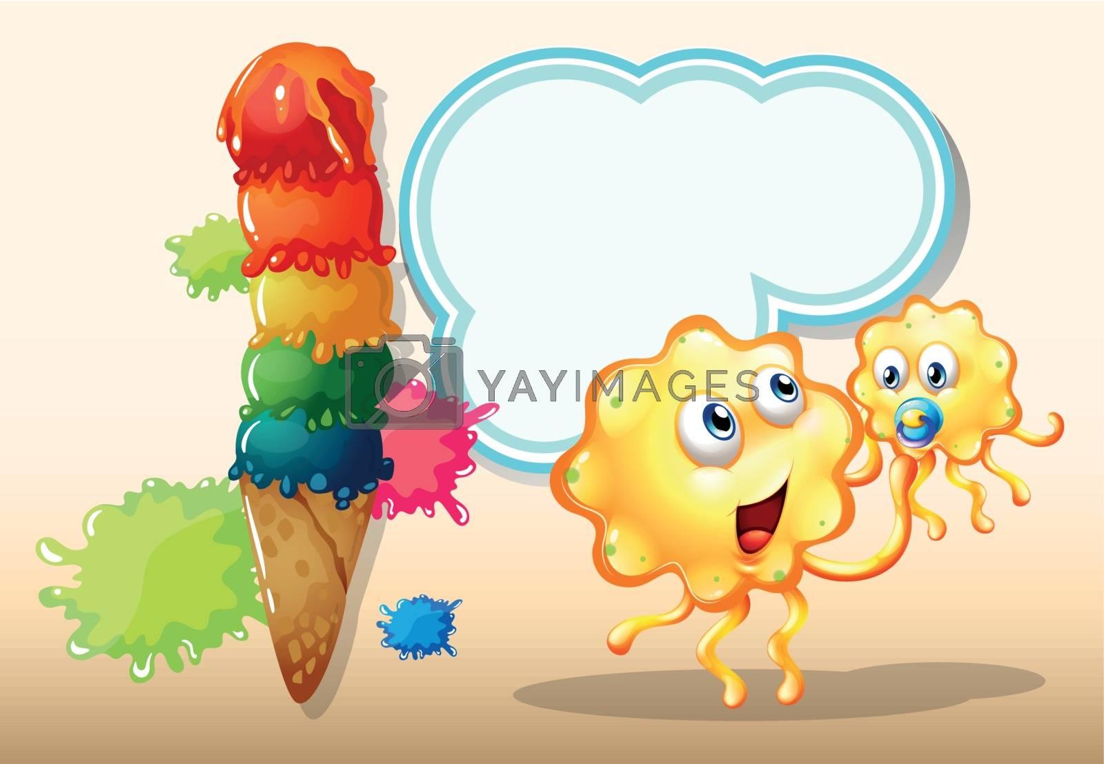 Illustration of the two orange monsters near the big icecream
