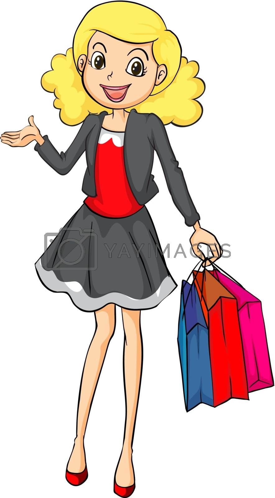 Illustration of a smiling girl with bags on a white background