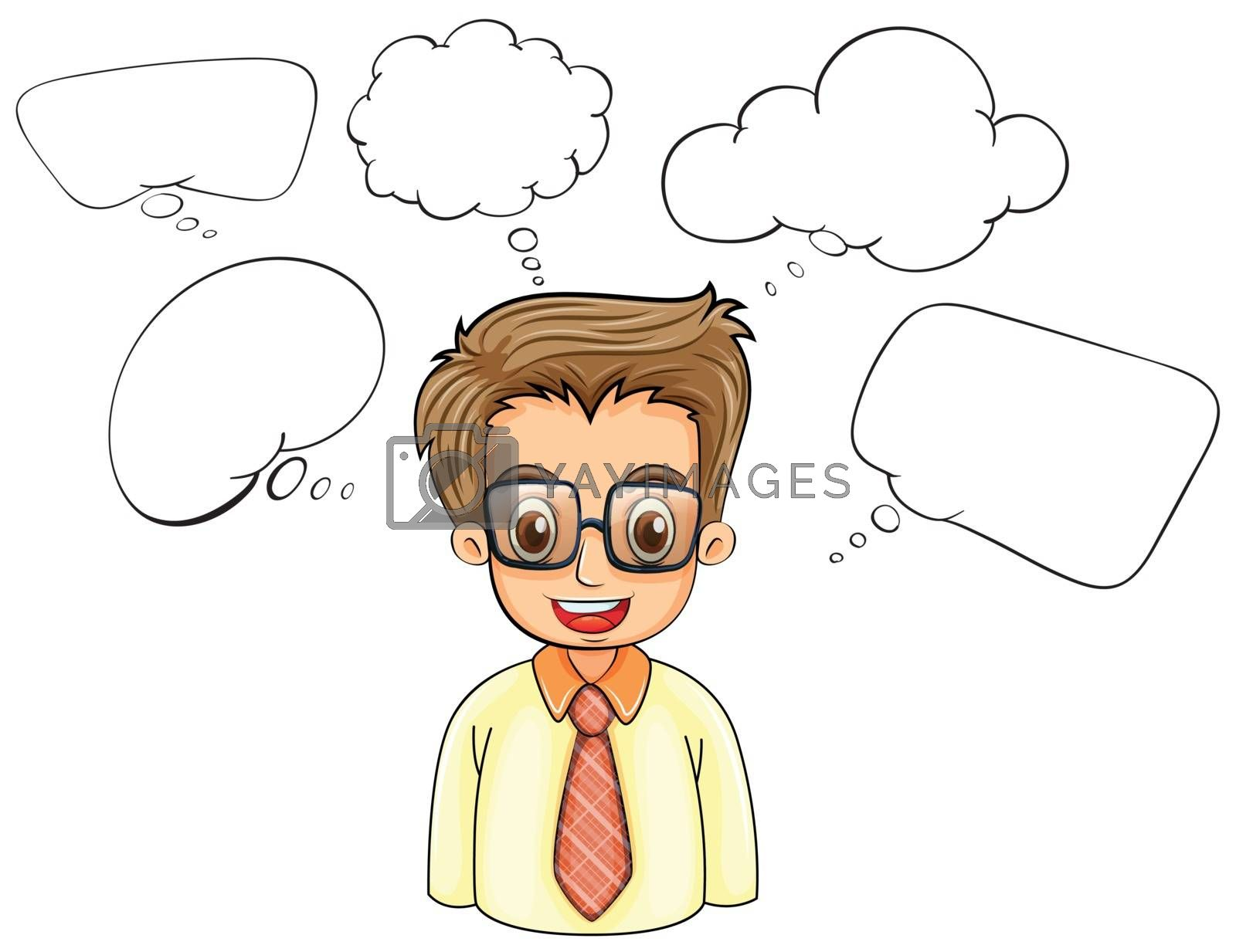 Illustration of a smart man with empty callouts on a white background
