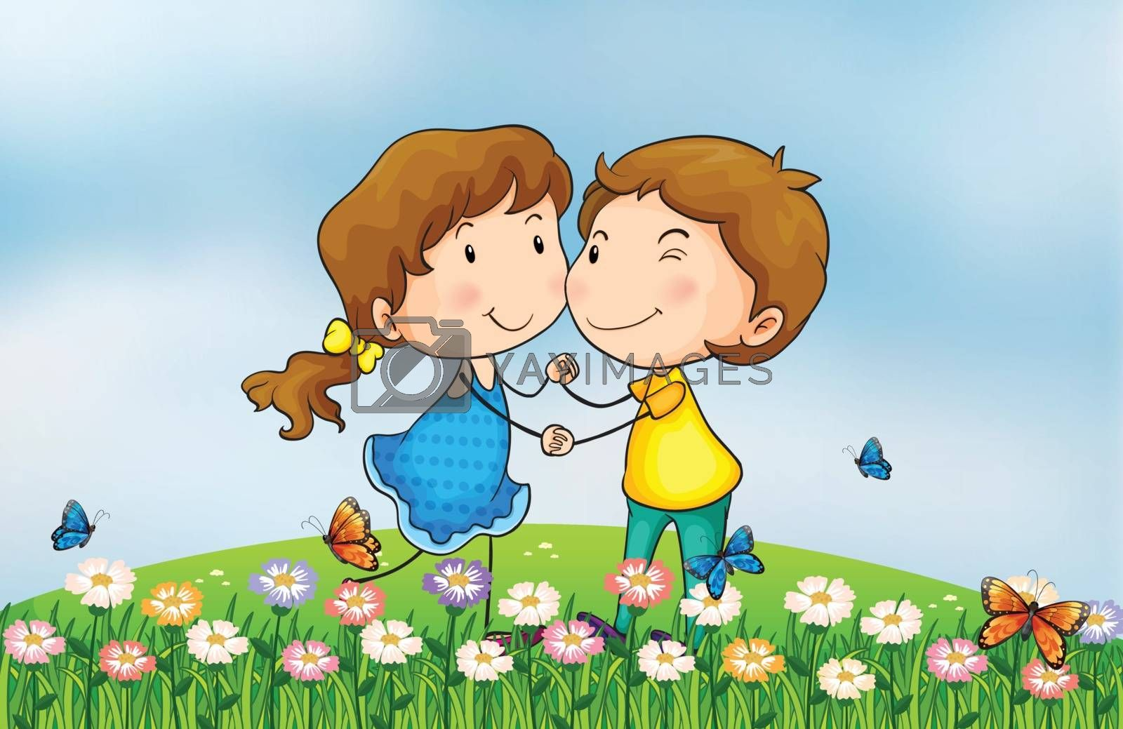 Illustration of a smiling girl and a boy in a beautiful nature