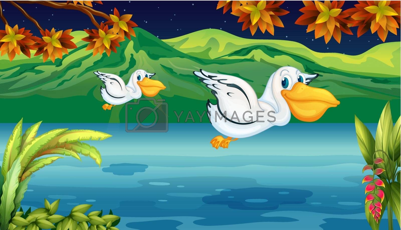 Illustration of two flying animals at the river