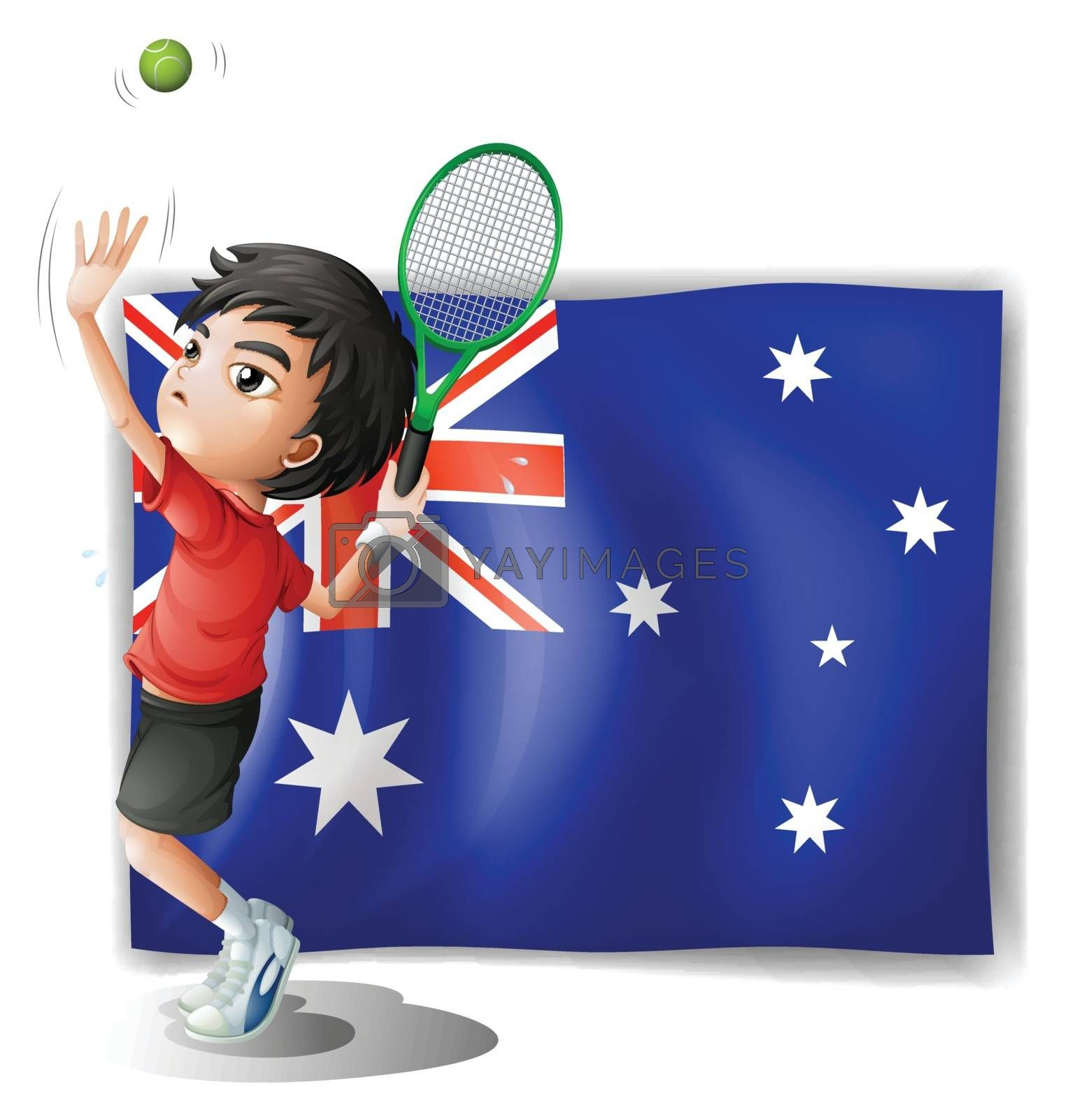 Illustration of an athlete in front of the Australian flag on a white background