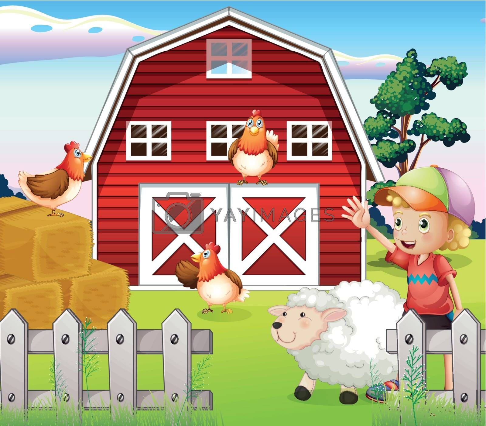 Illustration of a boy at the farmhouse with animals