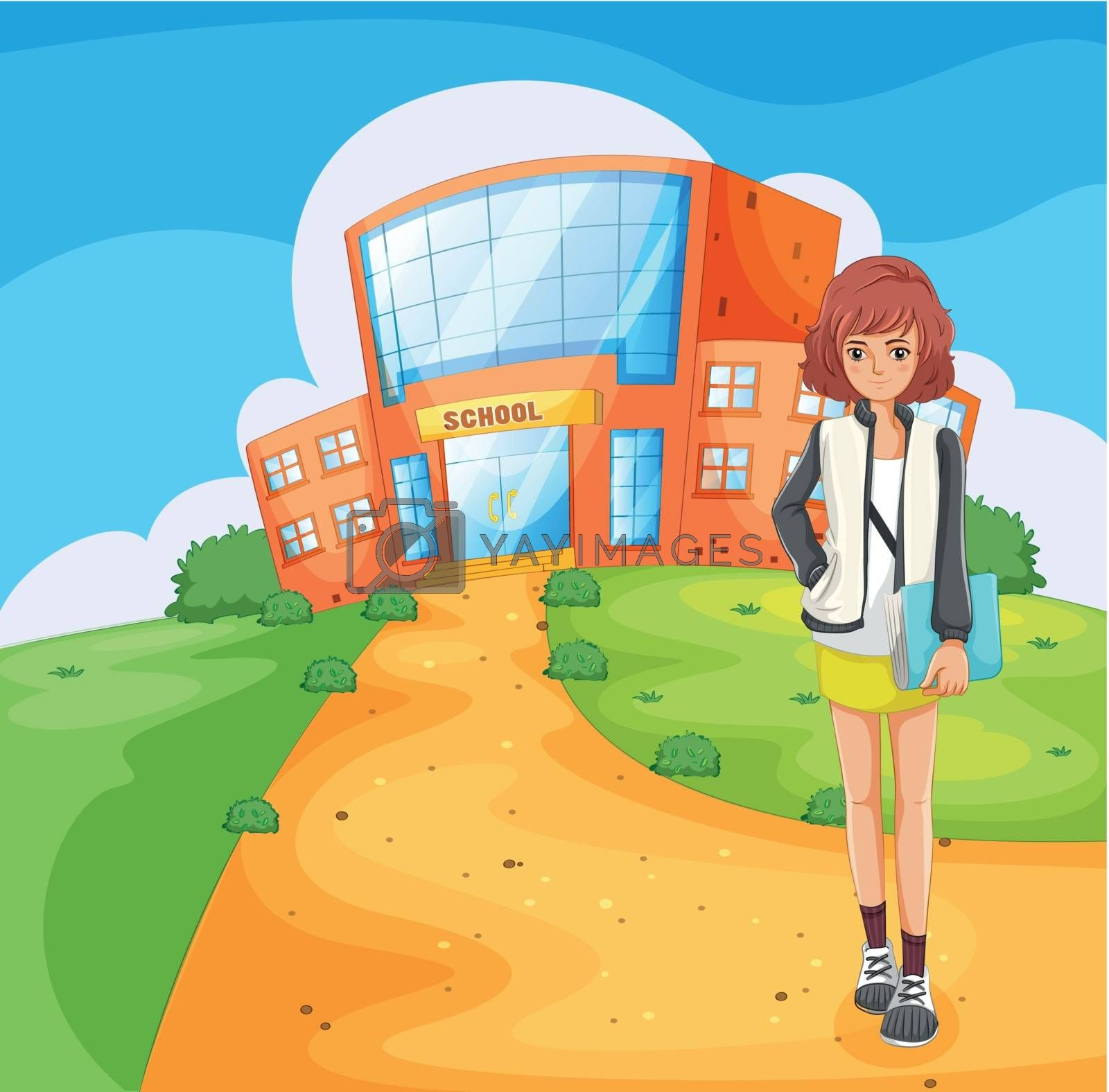 Illustration of a lady standing outside the school building