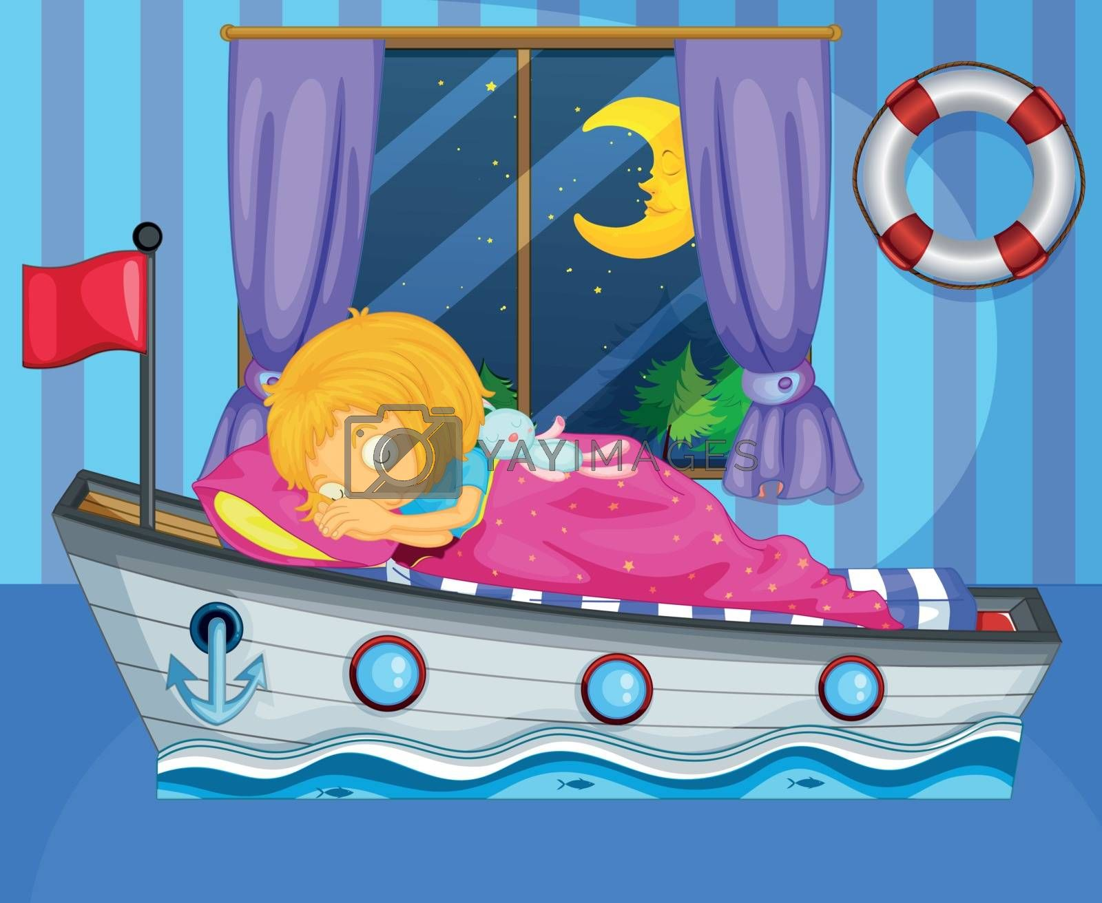 Illustration of a girl sleeping on her boat-like bed