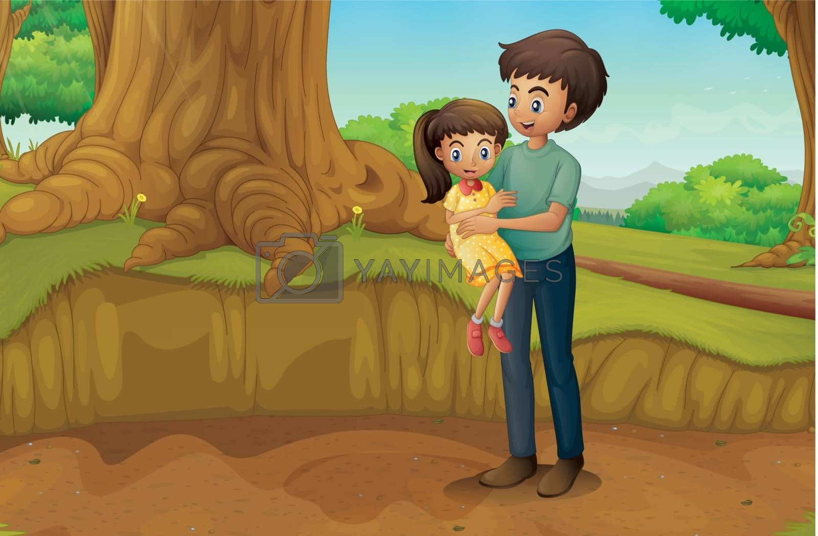 Illustration of a father and his daughter at the forest