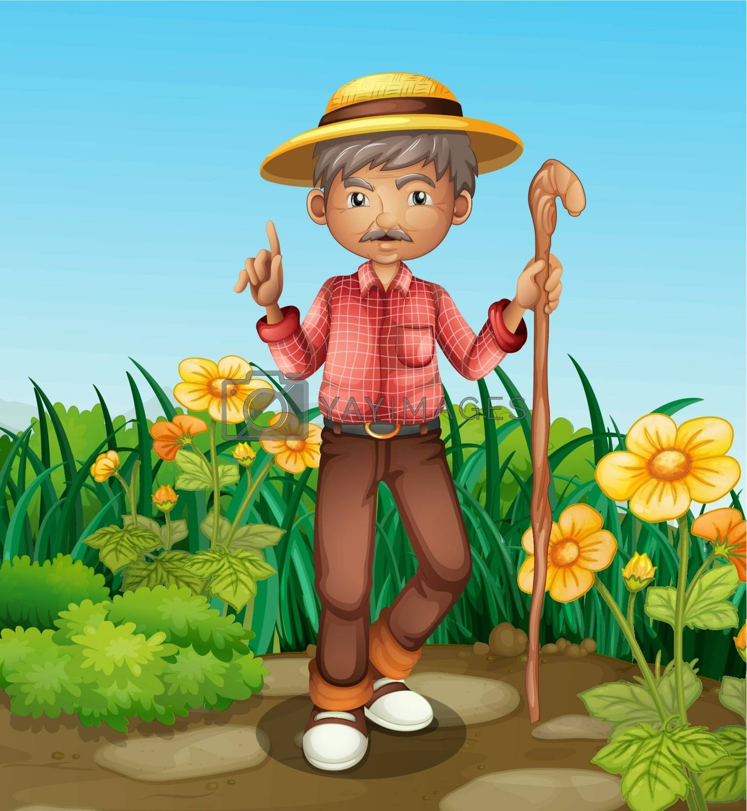 Illustration of an old man with a cane standing at the garden