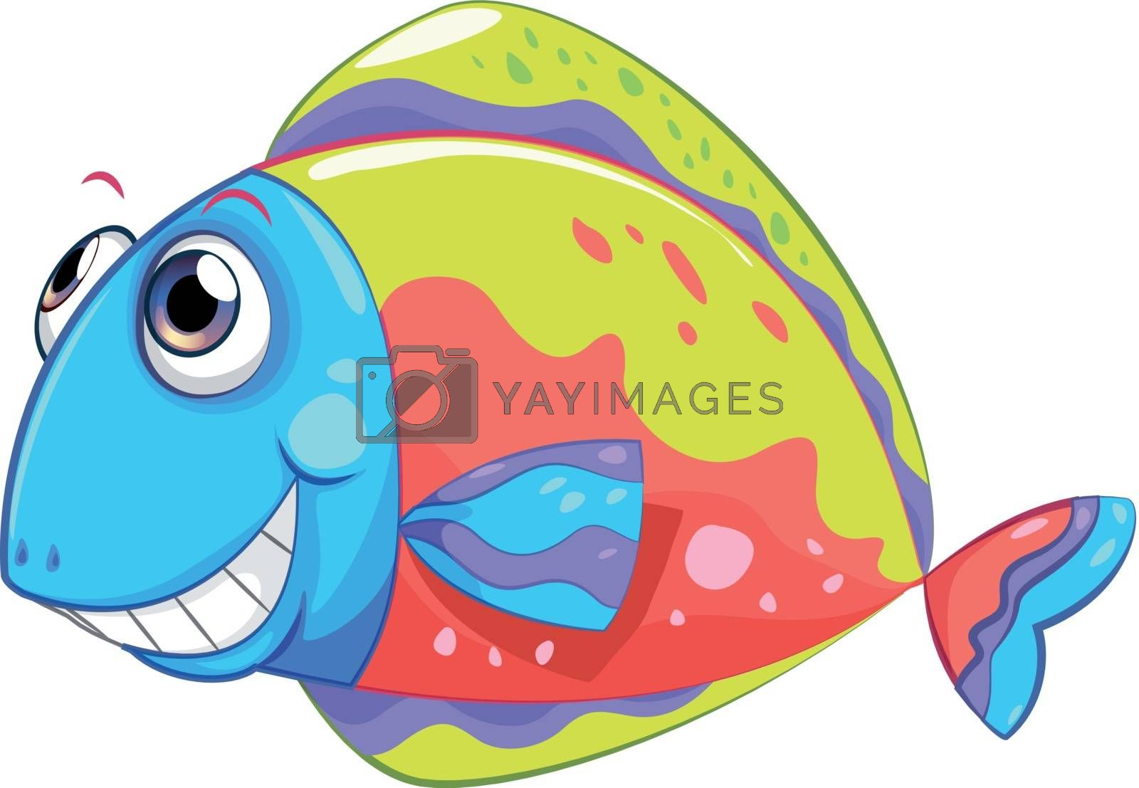 Illustration of a colorful smiling fish on a white background