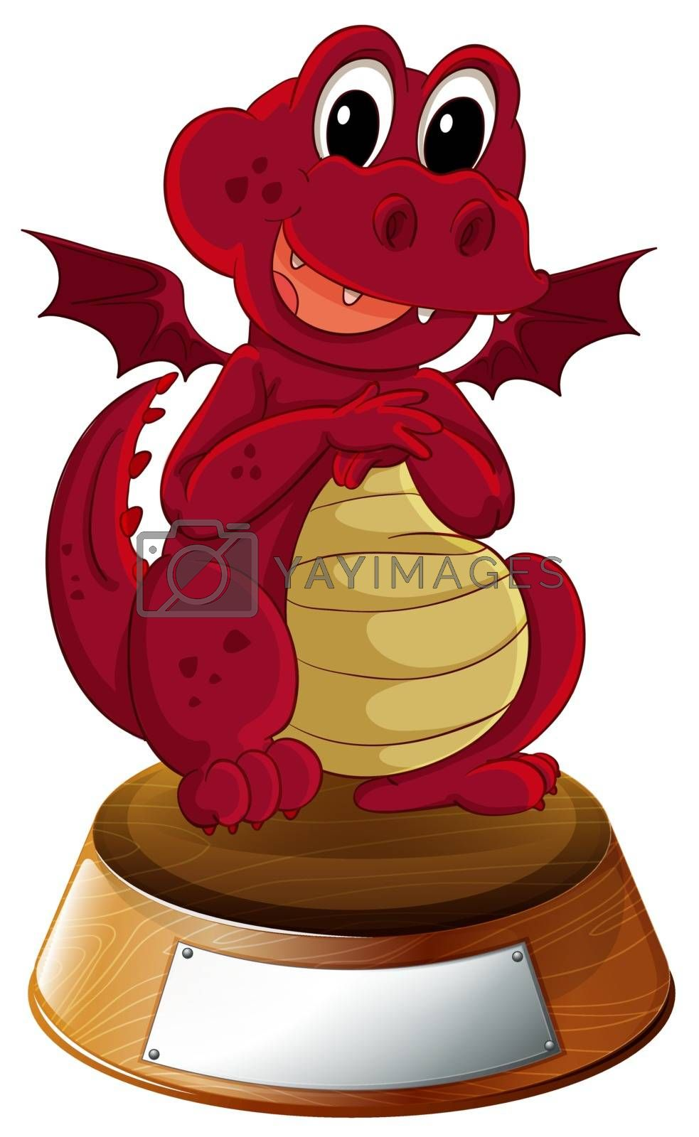 Illustration of a red dragon with an empty template at the bottom on a white background