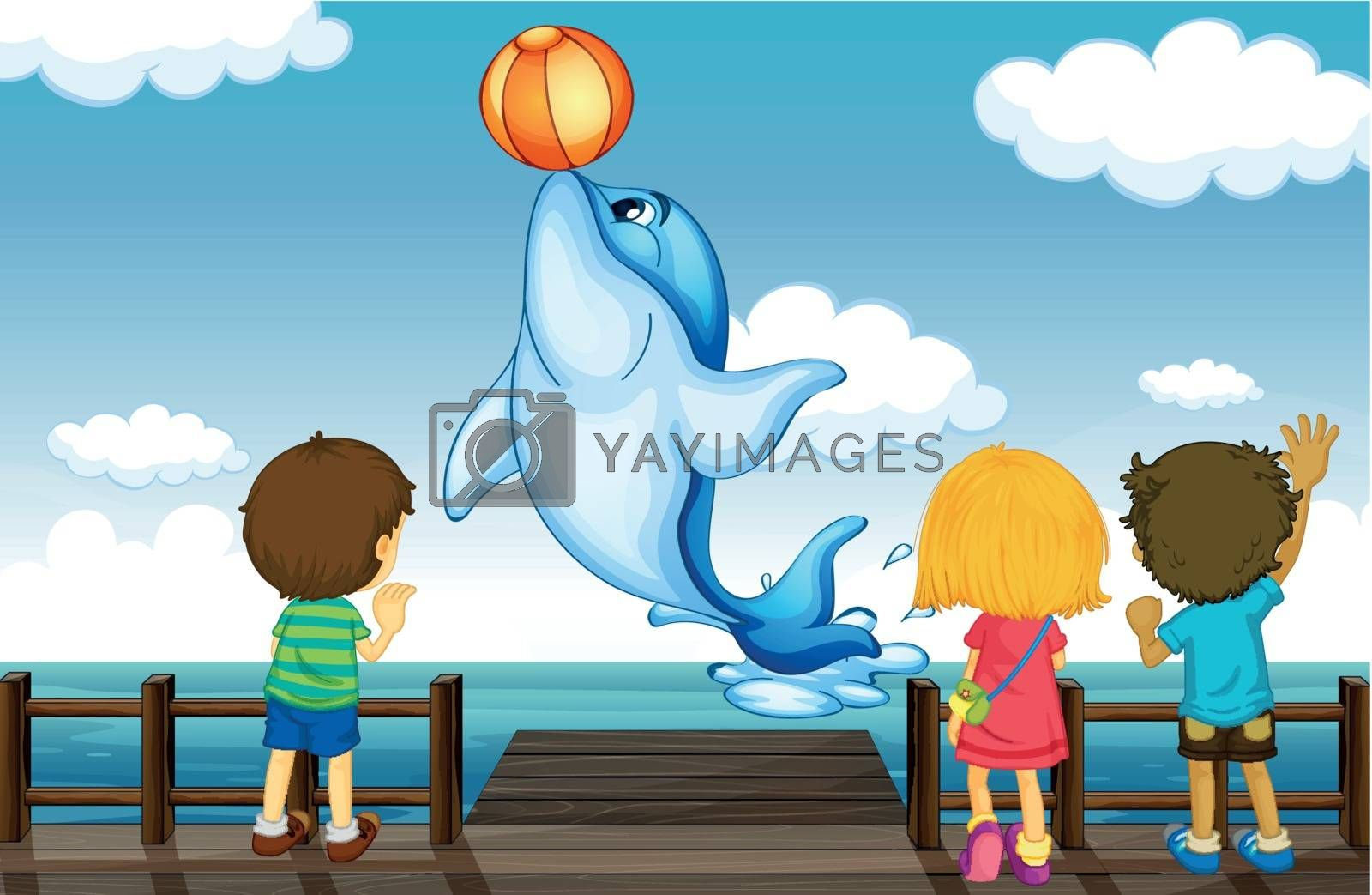 Illustration of kids and dolphin in a beautiful nature